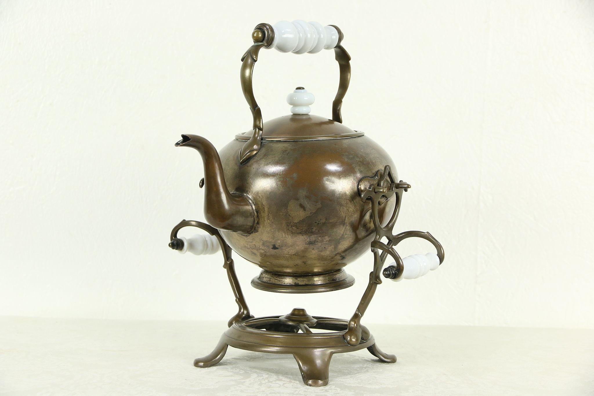 Tilting Antique 1890 Copper Tea Kettle Amp Stand Signed