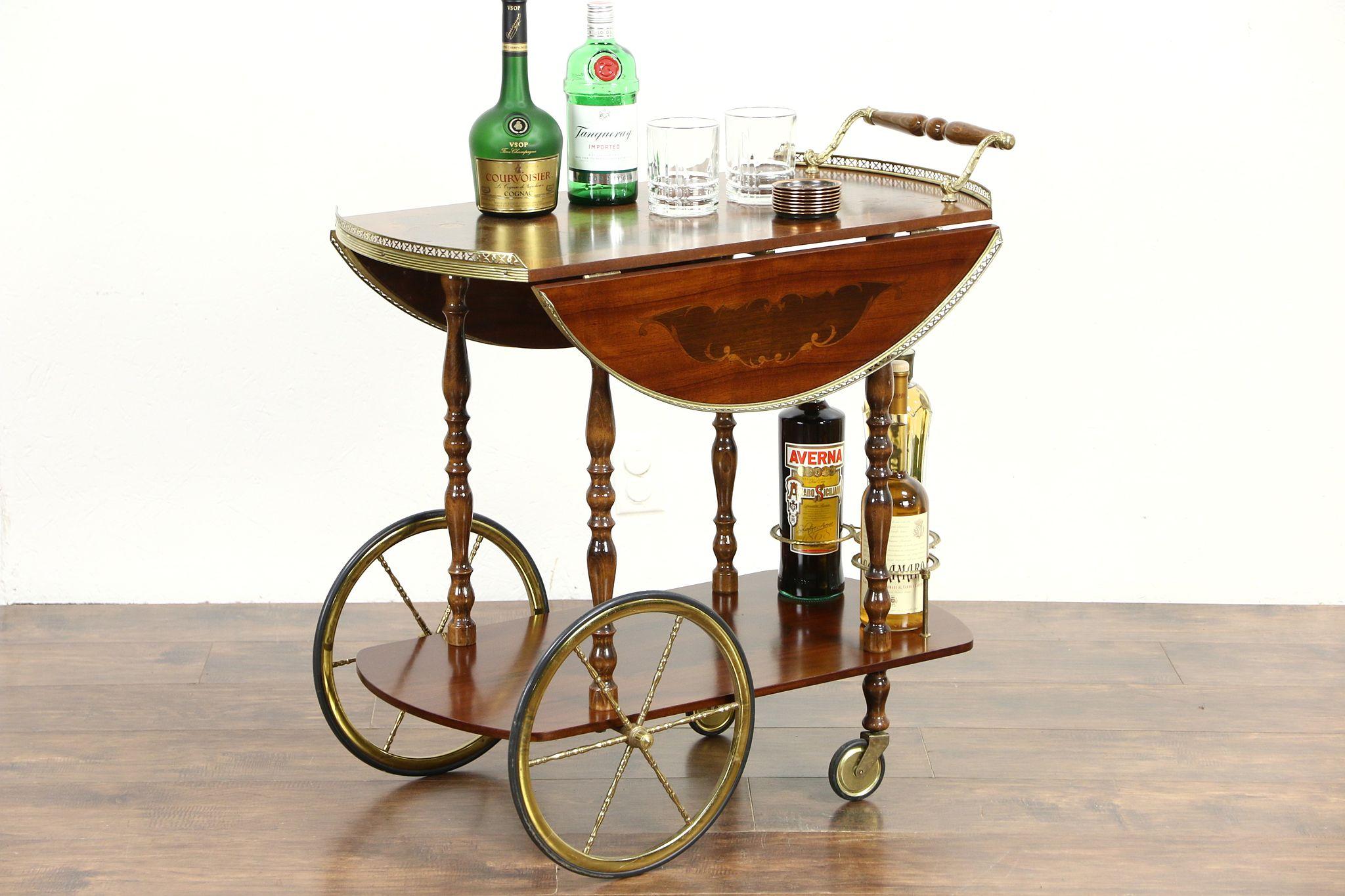 Tea Cart Or Vintage Beverage Trolley Inlaid Rosewood