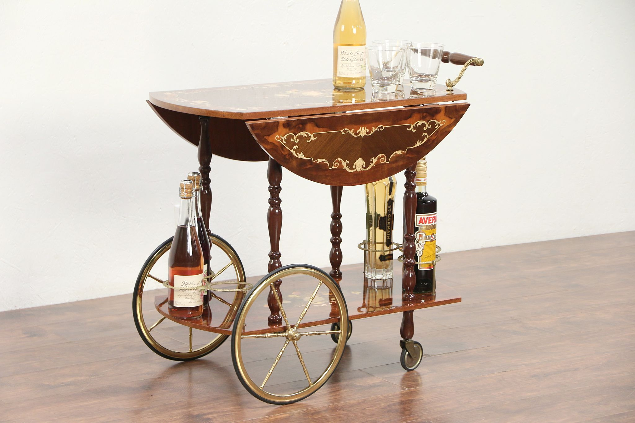 Vintage Bar Cart >> Italian Marquetry Vintage Bar Cart Tea Beverage Or Dessert Trolley 29323