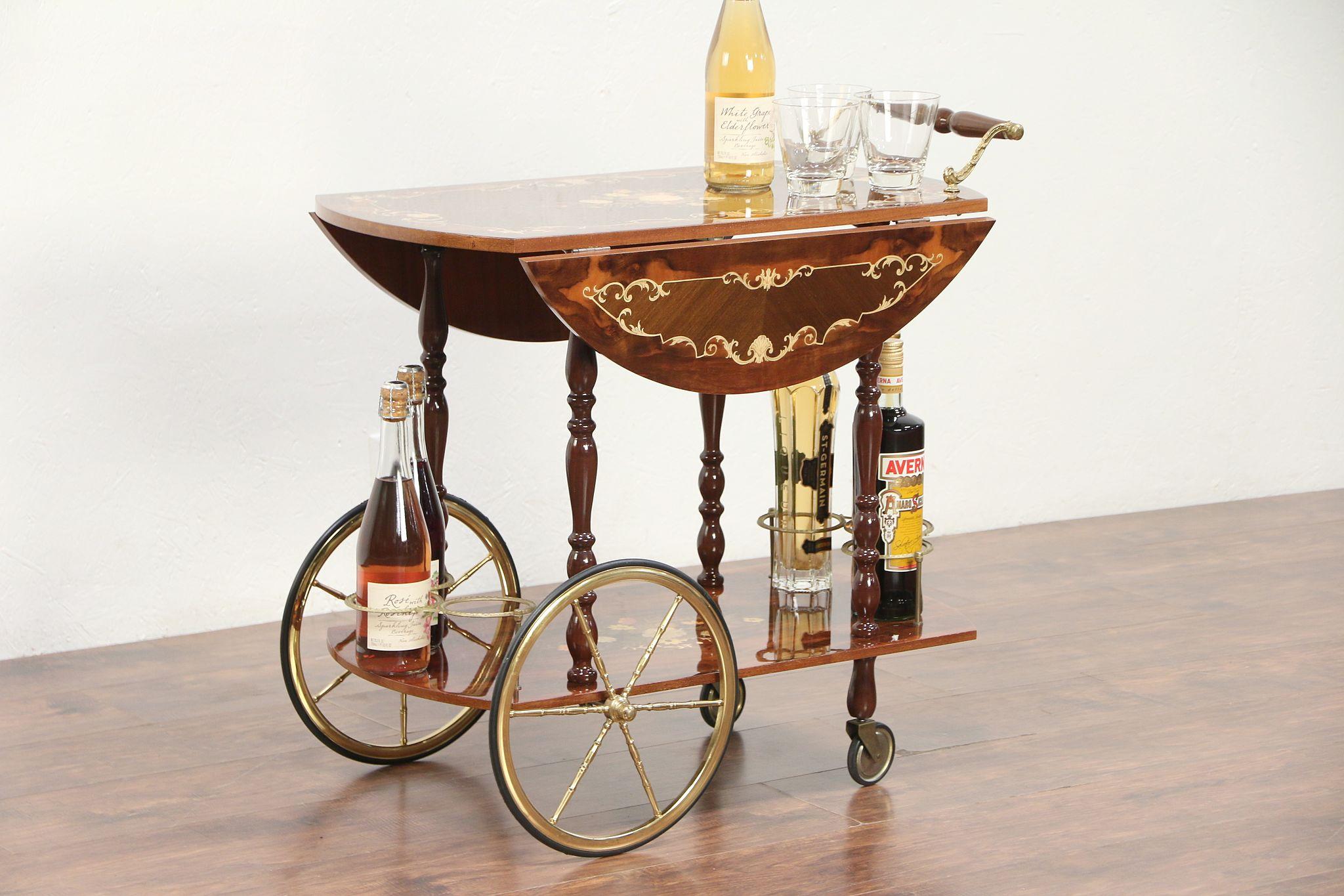 Italian Marquetry Vintage Bar Cart Tea Beverage Or Dessert Trolley 29323