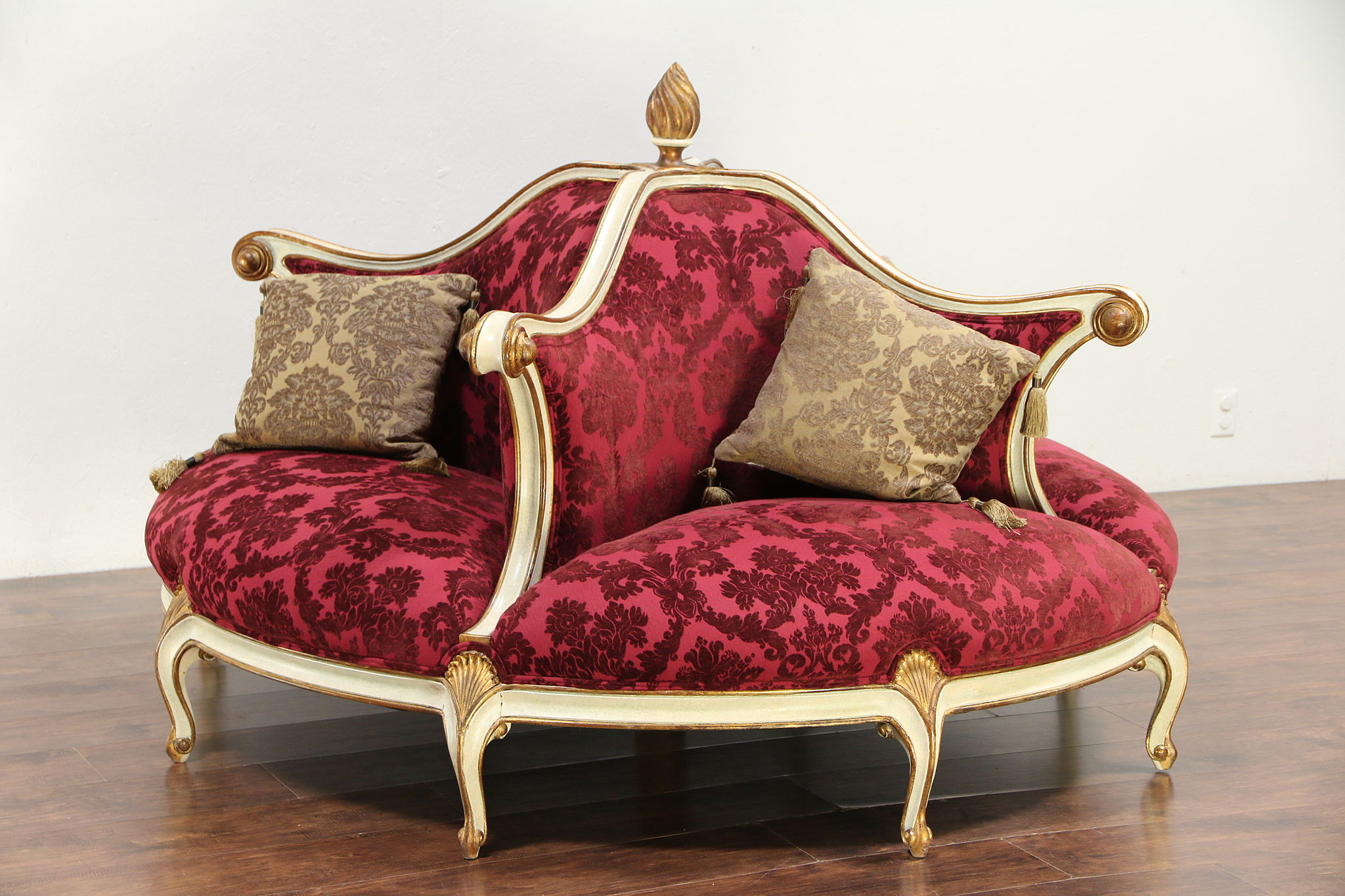 Sold Round Foyer Or Ballroom Settee Sofa Hand Painted New Upholstery 29726 Harp Gallery
