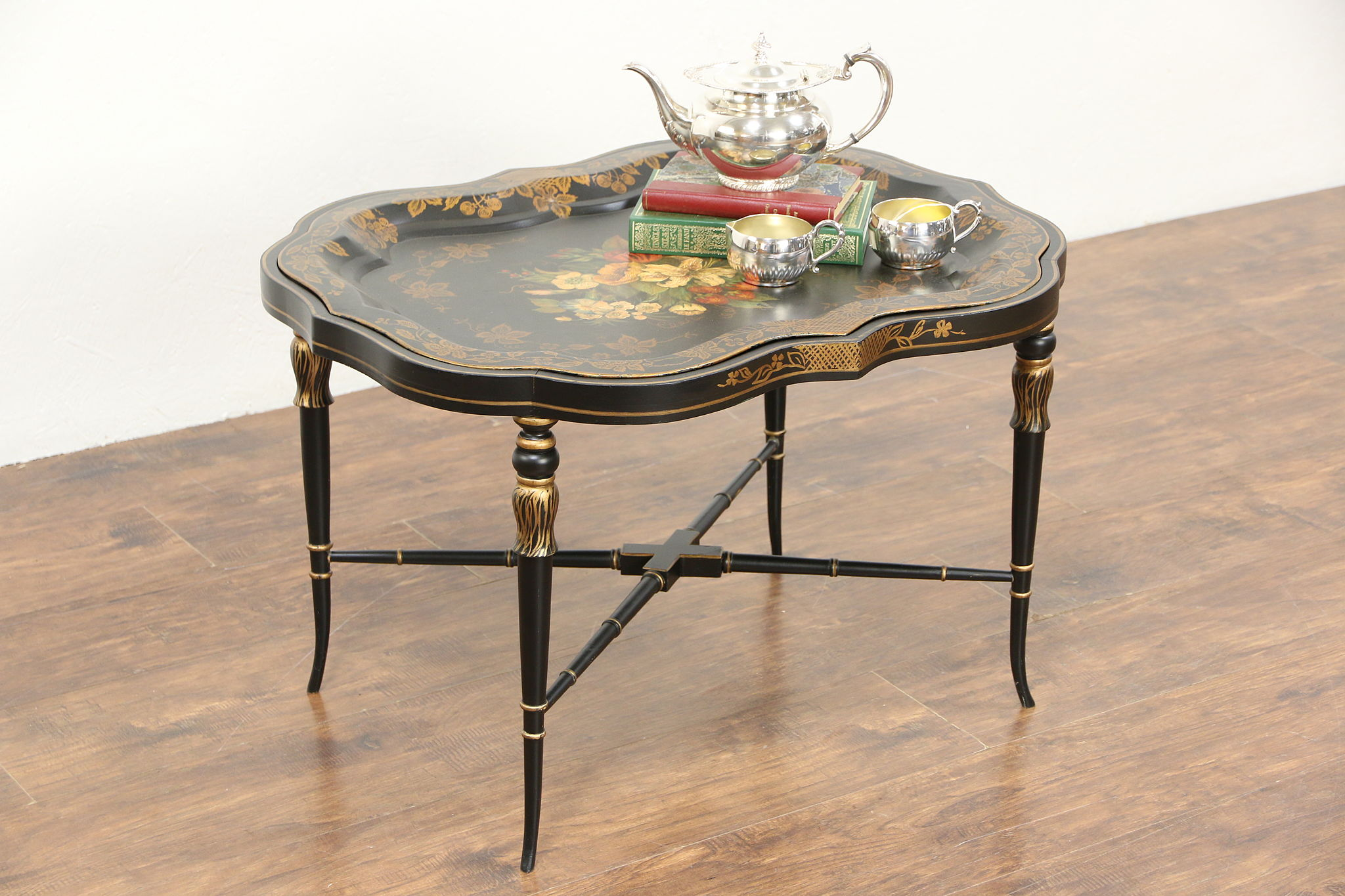Toleware Hand Painted 1930 s Vintage Tin Tray & Stand Coffee Table