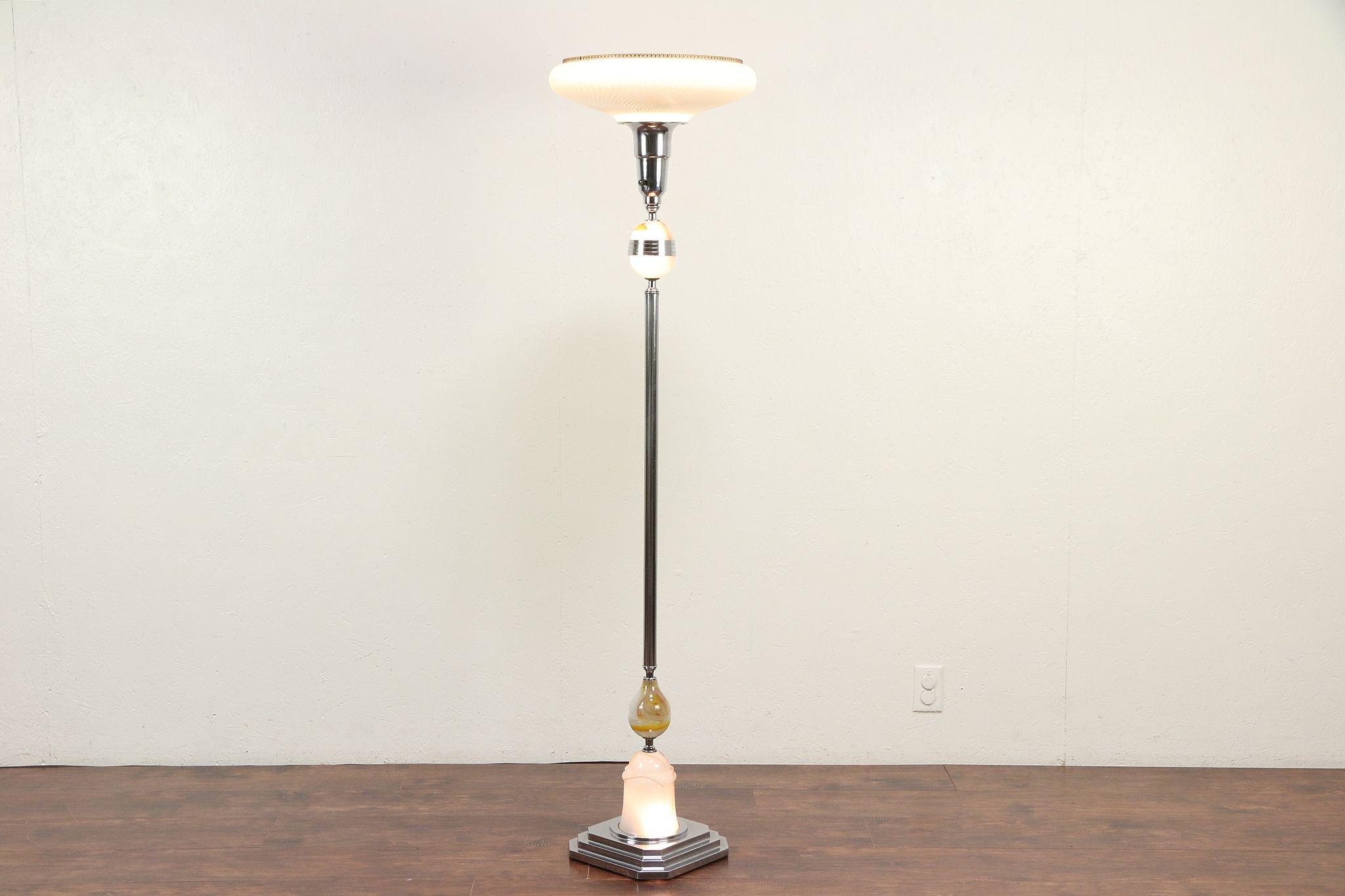 Sold Art Deco 1930 S Vintage Torchiere Floor Lamp Chrome Amp Glass Lighted Base 30042 Harp