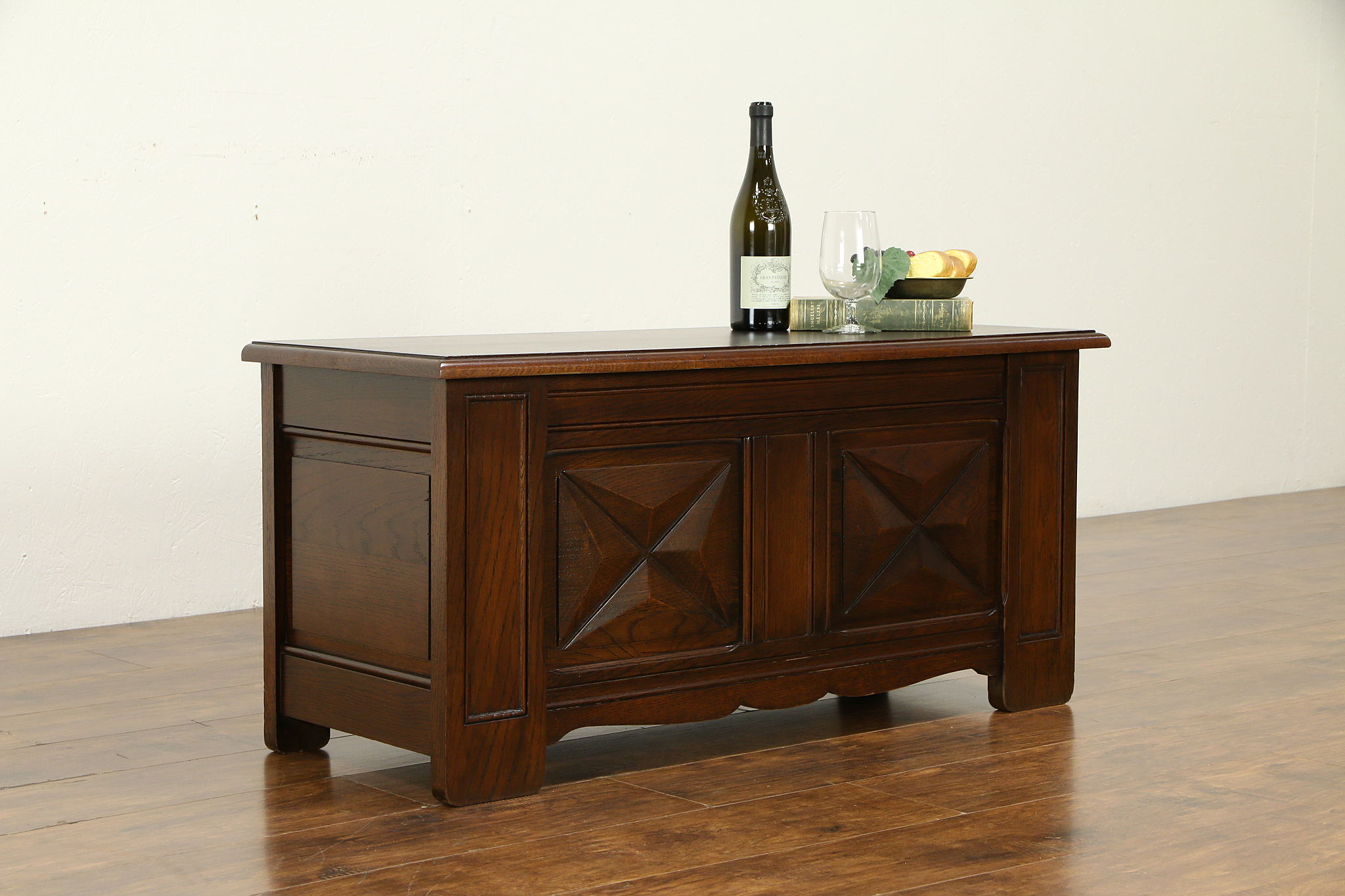 Oak Antique Belgian Trunk Dowry Chest Coffee Table Or Bench 32161