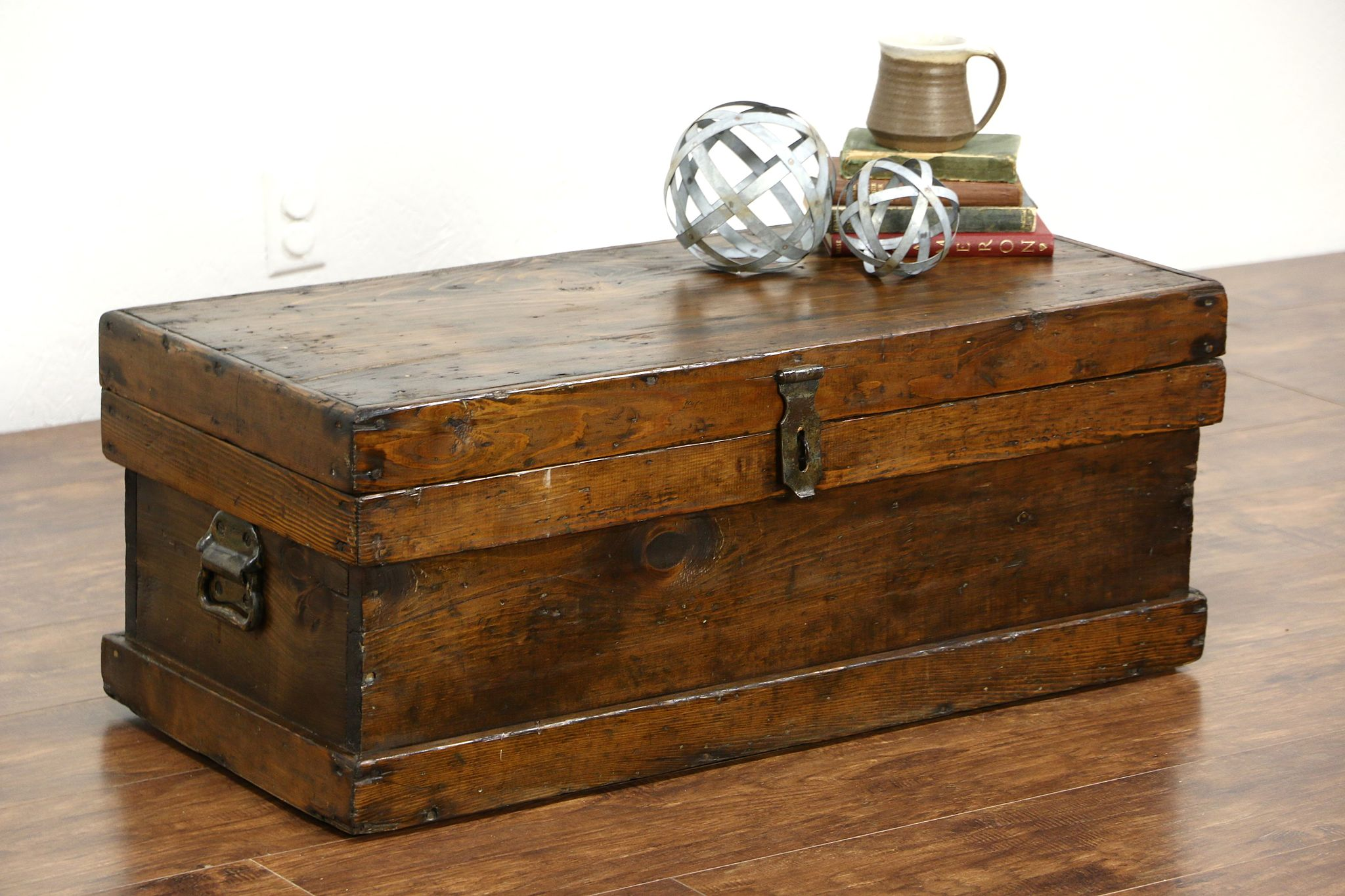 SOLD Rustic Antique Country Pine 1870 Trunk Carpenter Tool