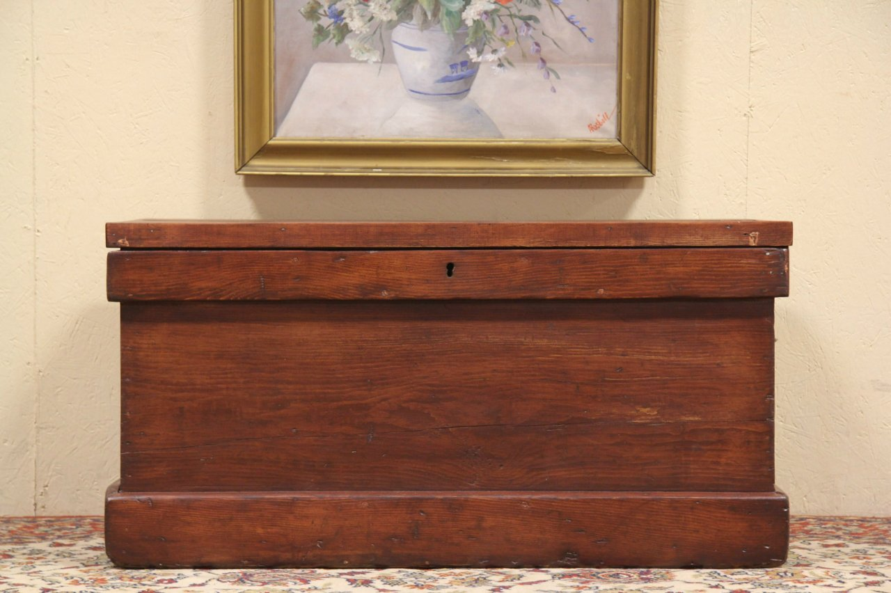 Sold Country Pine 1860 Trunk Chest Or Coffee Table