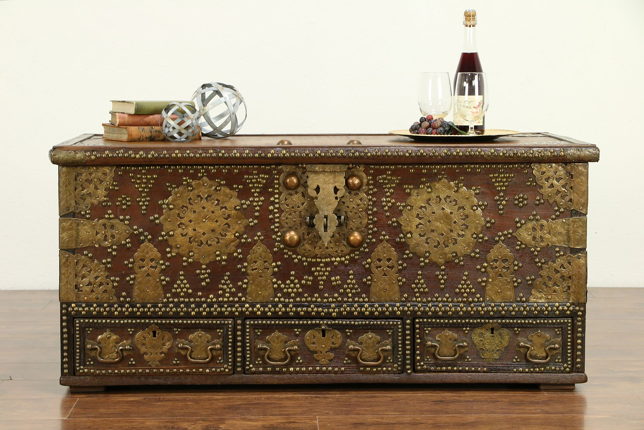 - SOLD - Teak & Brass Indian Vintage Trunk, Chest Or Coffee Table