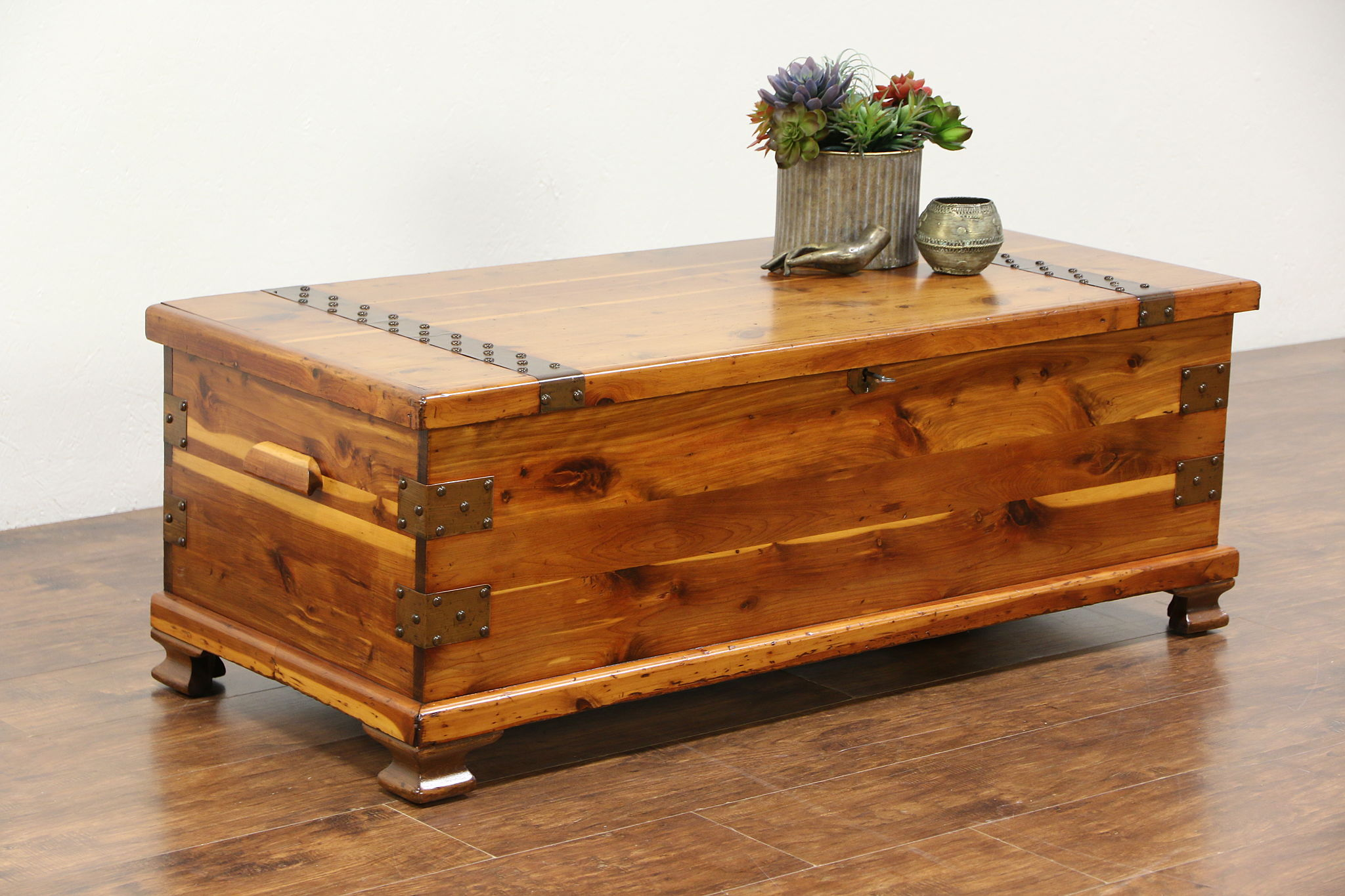 Cedar Trunk or Vintage Blanket Chest or Coffee Table Copper