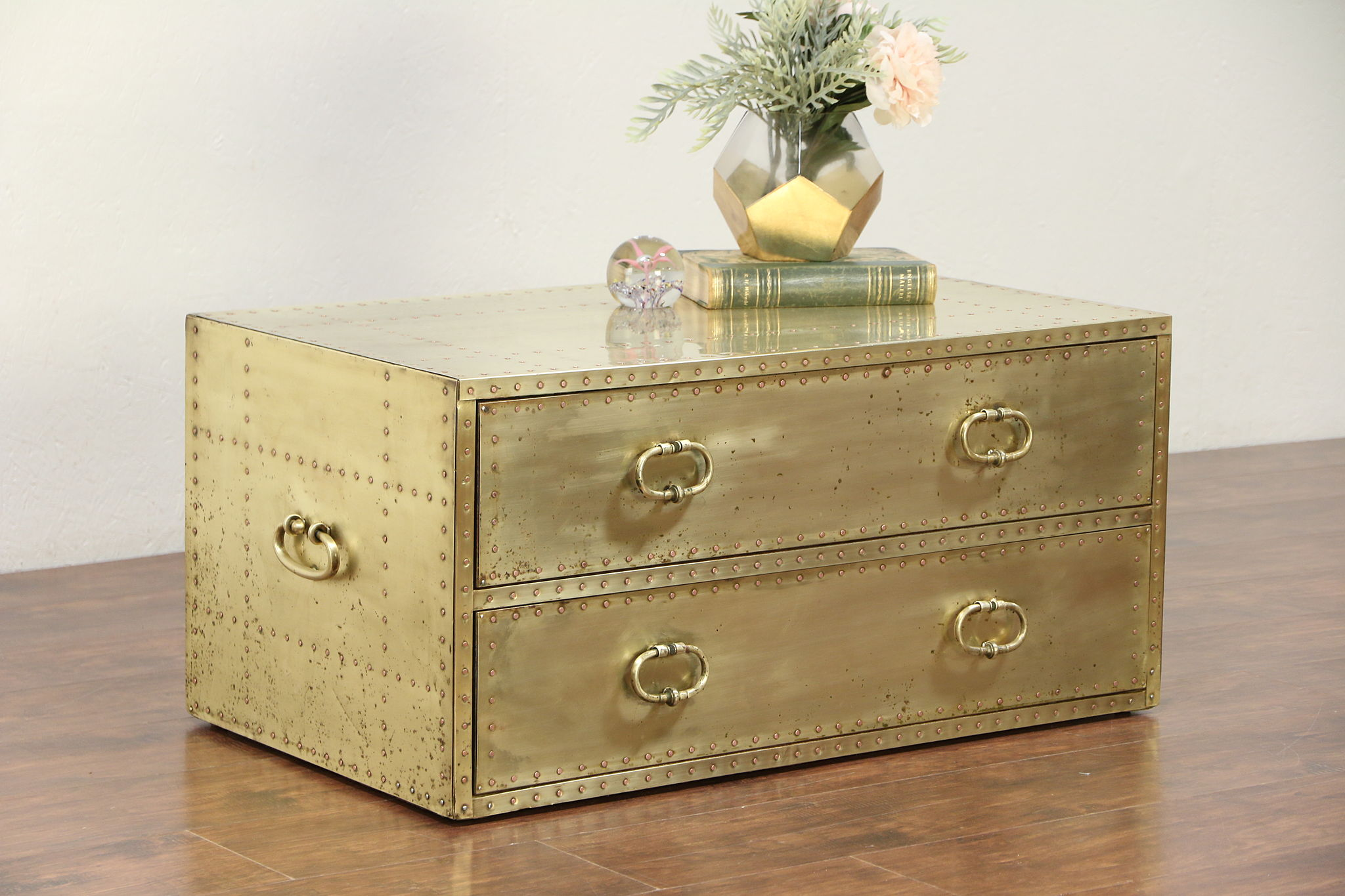 - SOLD - Brass & Copper Vintage Coffee Table, Low Chest Or Trunk