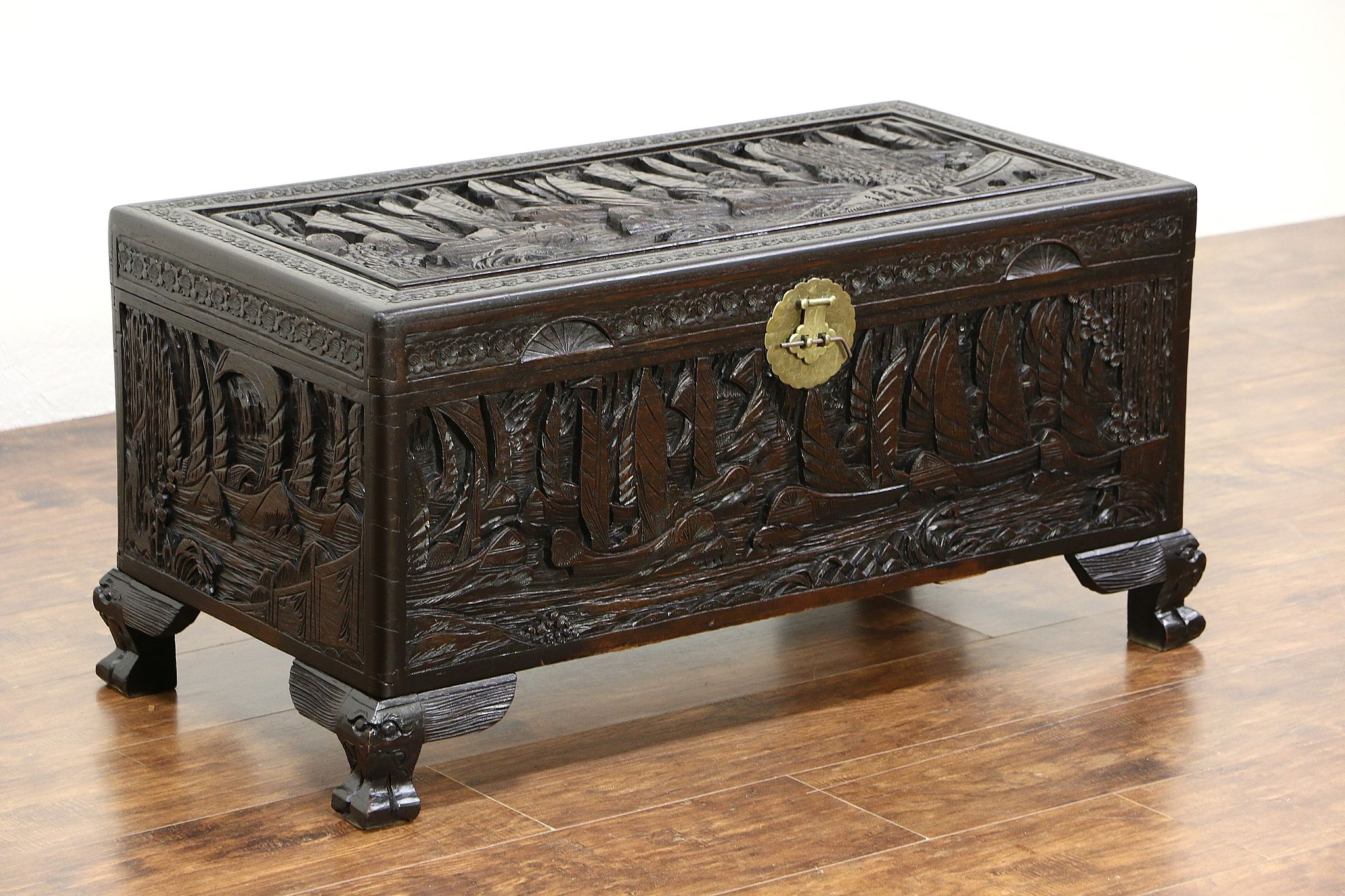 Chinese Camphor Wood Trunk Dowry Chest or Coffee Table Carved