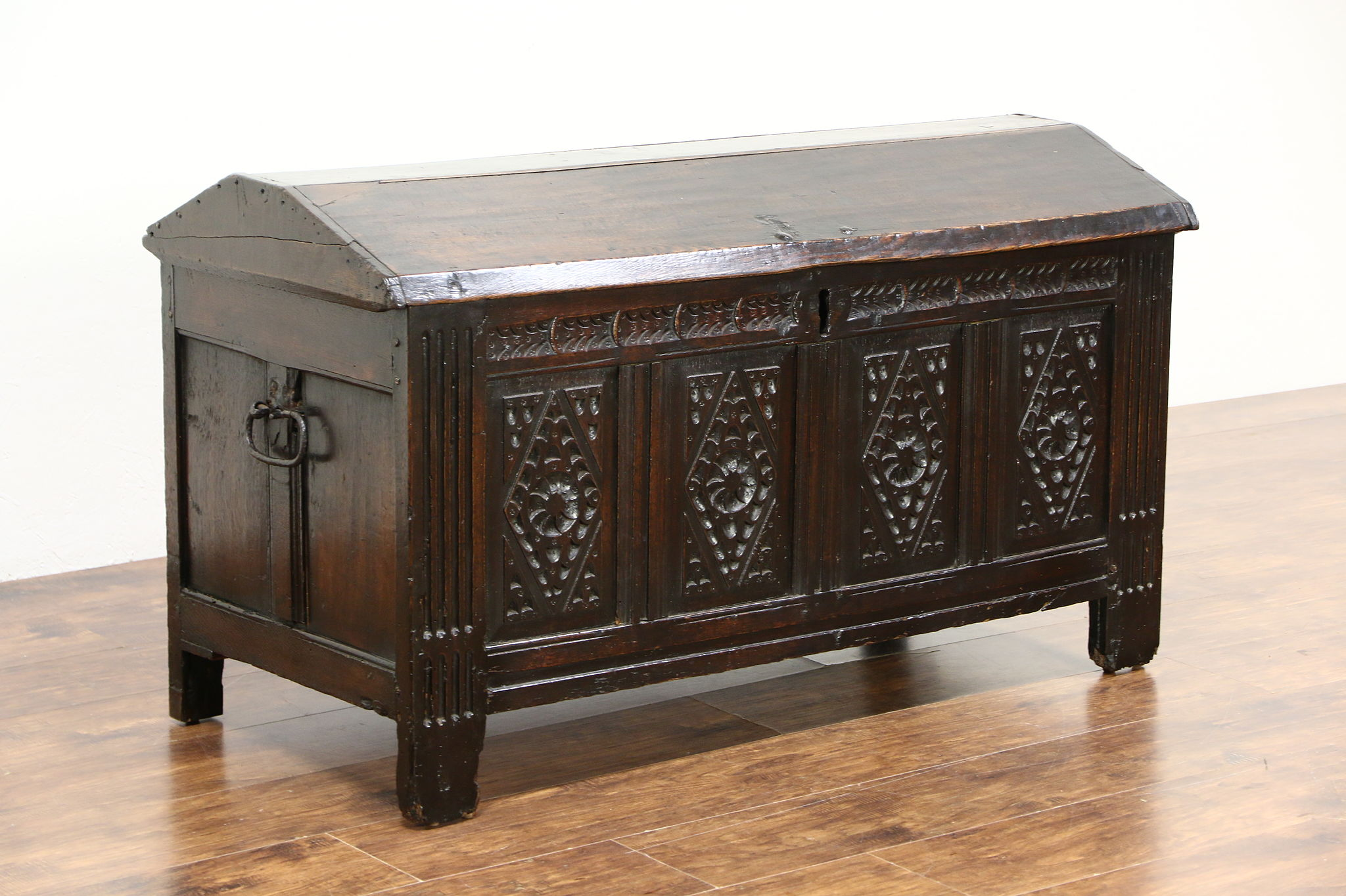 Treasure Chest Or Dowry Trunk Hand Carved Oak European