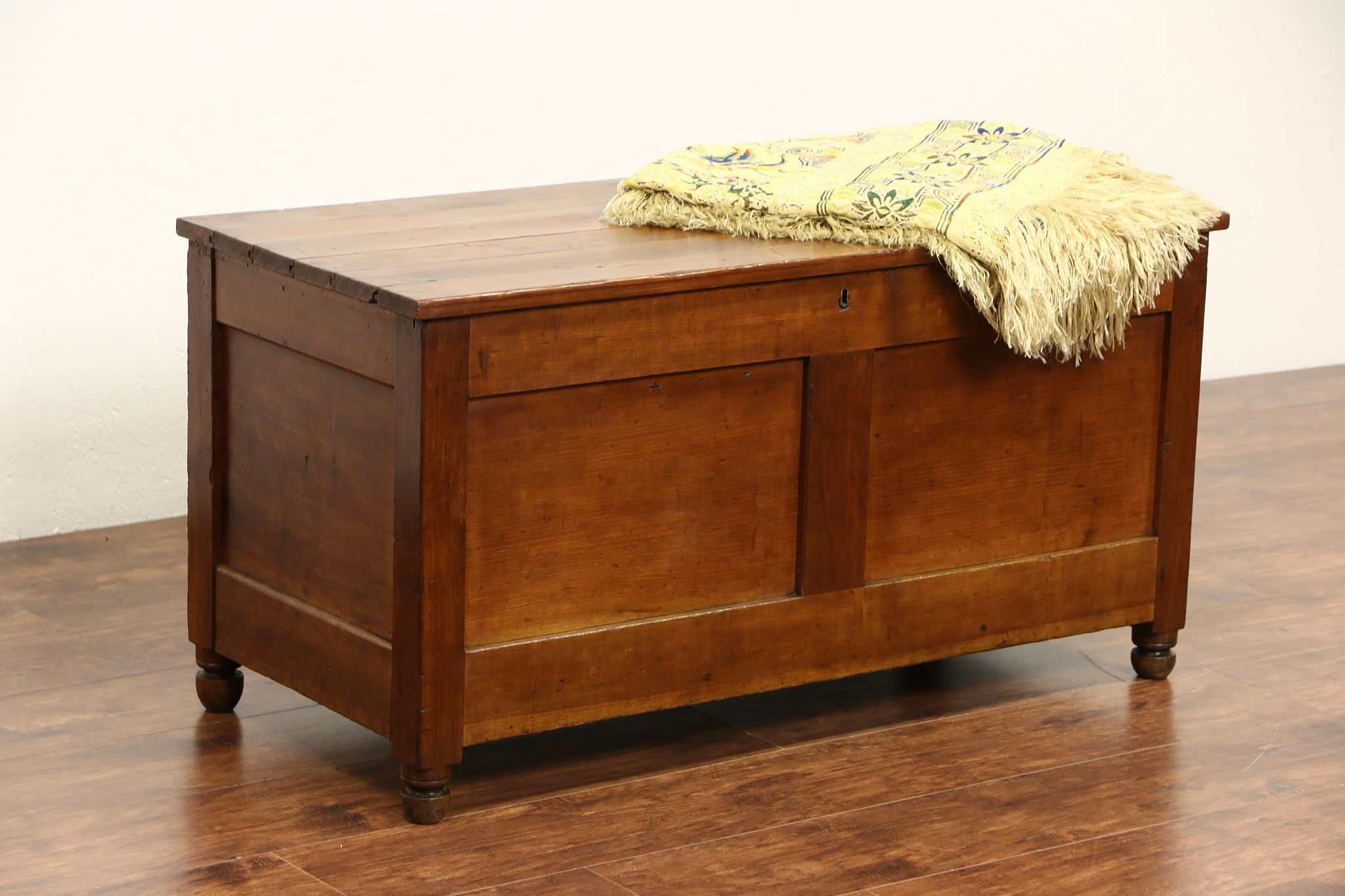 SOLD Country Cherry 1900 Antique Trunk Chest or Coffee Table