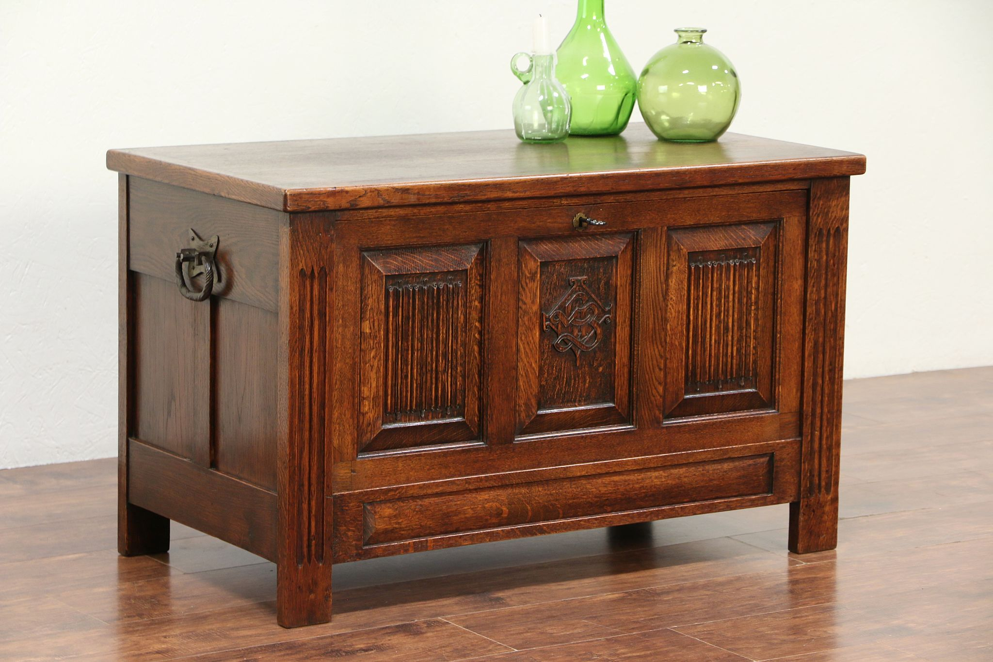 Oak Carved Antique Drop Front Trunk Chest Coffee Table Or Tv Console 29477