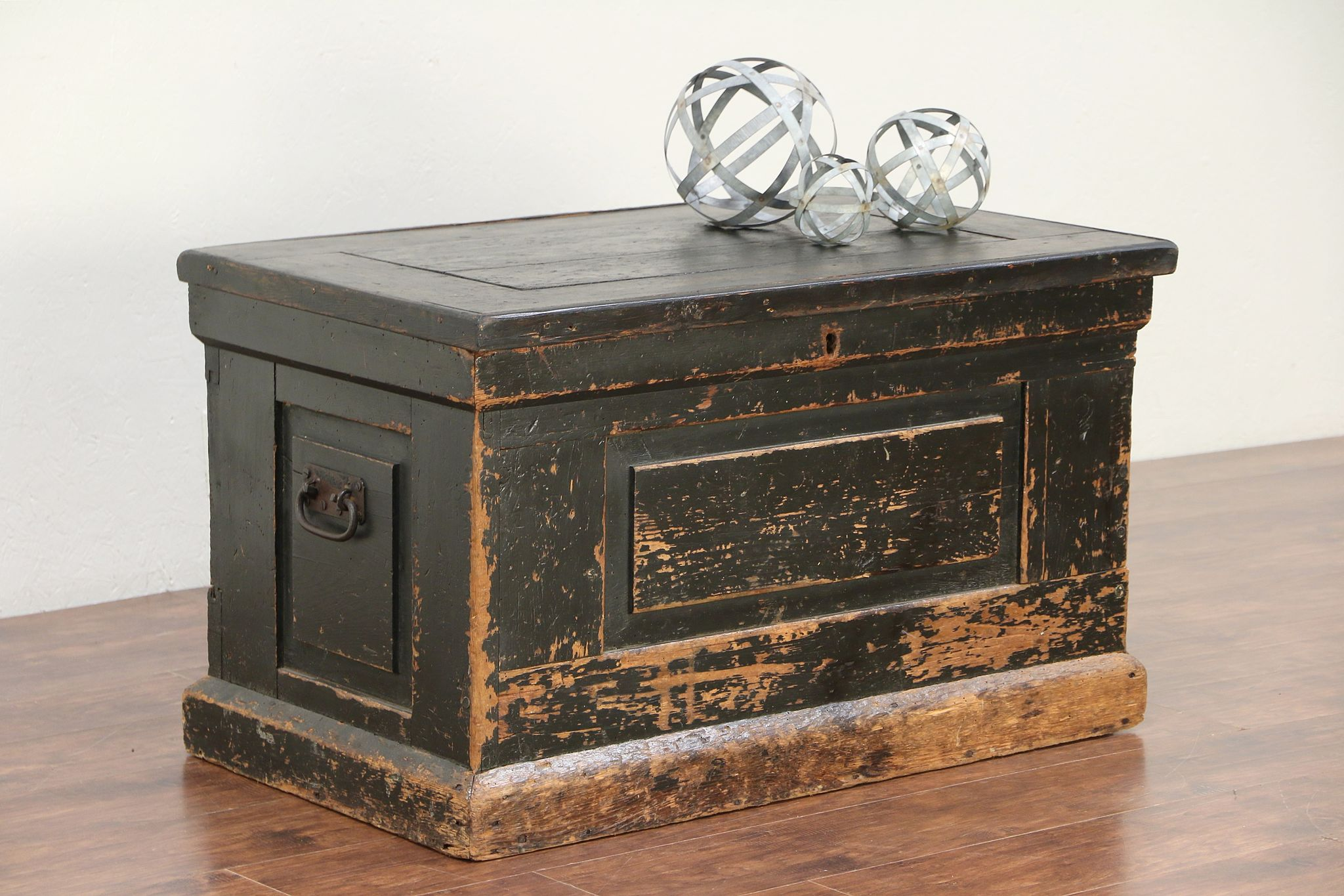 Wonderful Country Pine Antique Trunk, Chest Or Coffee Table, Old Paint, Signed #29528  ...