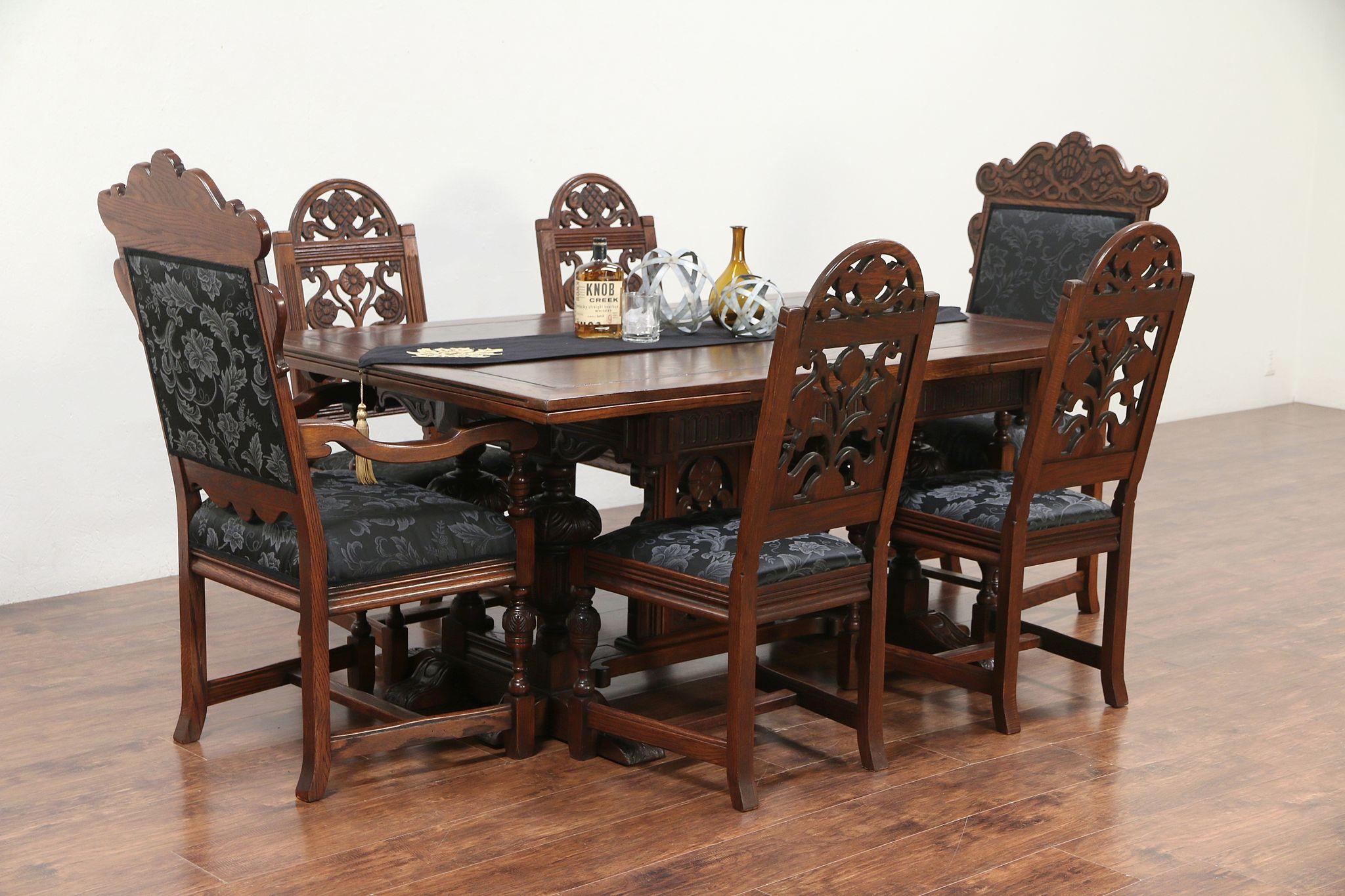 English Tudor Oak Dining Set, Table U0026 Leaves, 6 Chairs, New Upholstery  #29841 ...