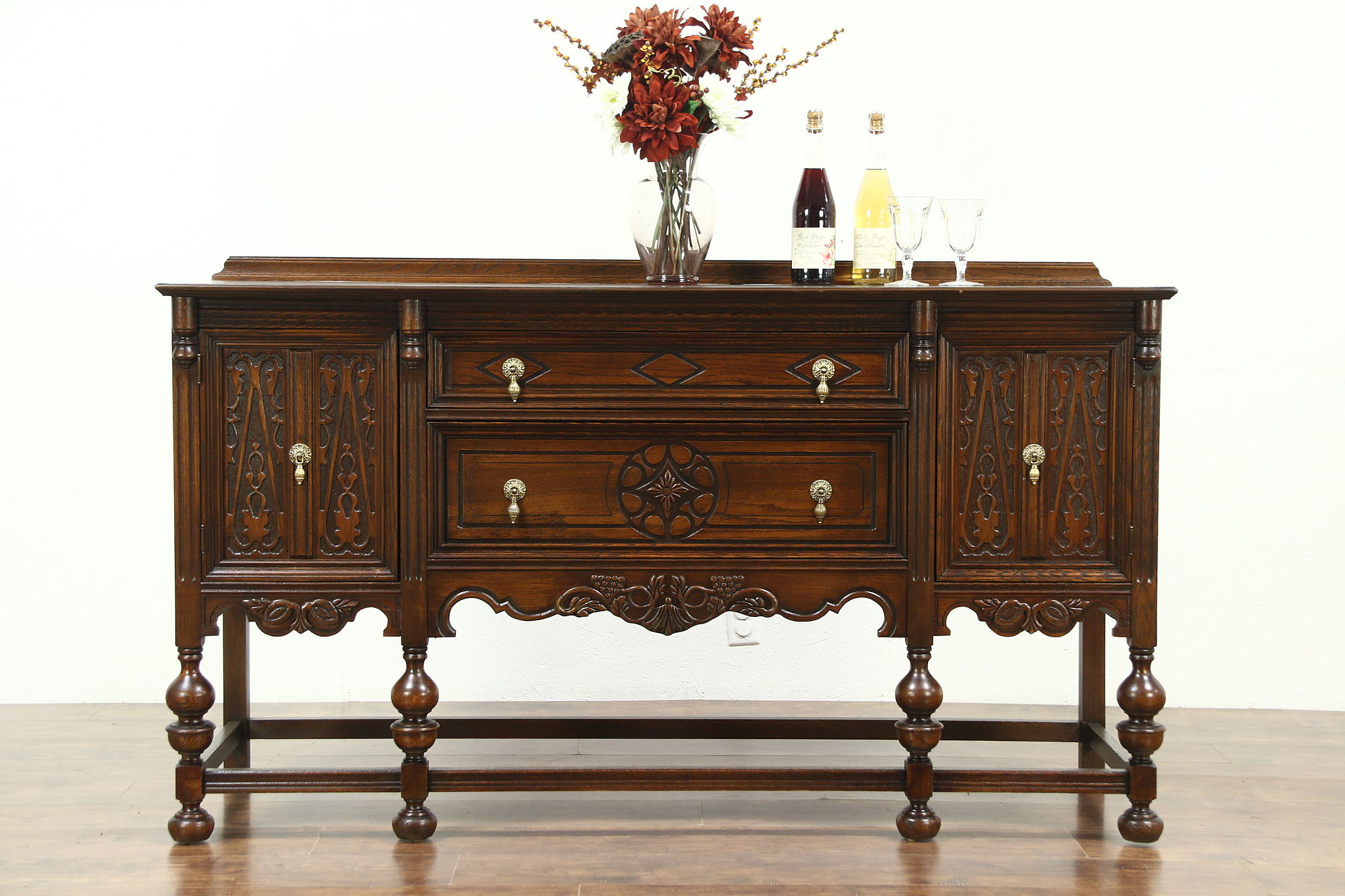 sold english tudor style 1920 39 s antique sideboard server or buffet harp gallery. Black Bedroom Furniture Sets. Home Design Ideas