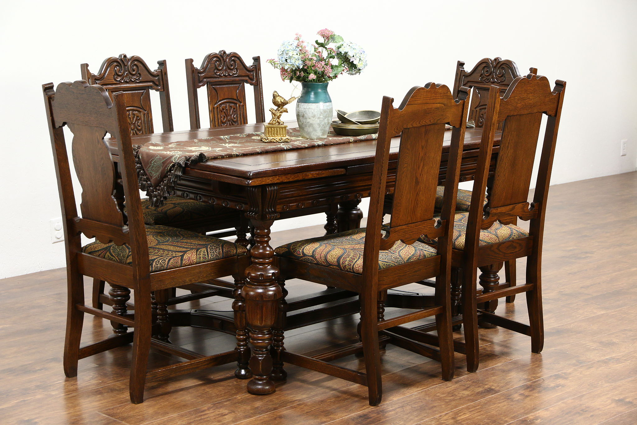 Tudor 1925 Antique Carved Oak Dining Set, Table, 6 Chairs, New Upholstery