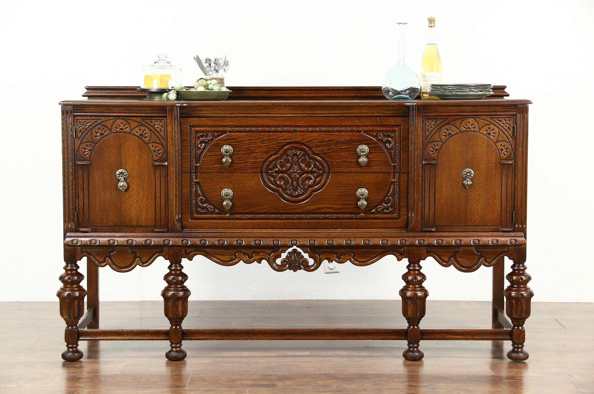 Sold Tudor Design 1925 Antique Carved Oak Sideboard Server Or Rh Harpgallery Com Buffet Table