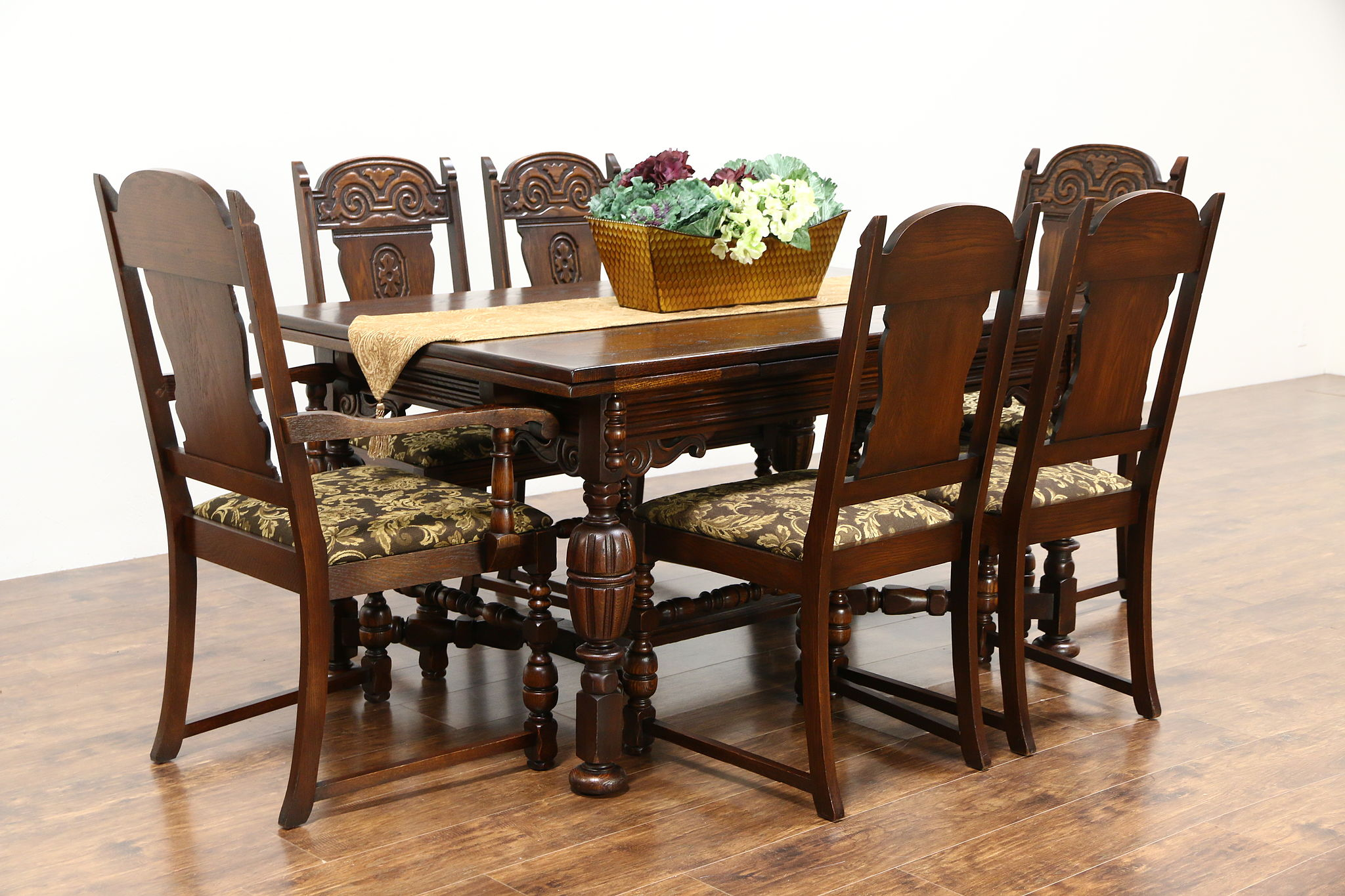 English Tudor Style 1920 Antique Oak Dining Set, 6 Chairs New Upholstery,  Table