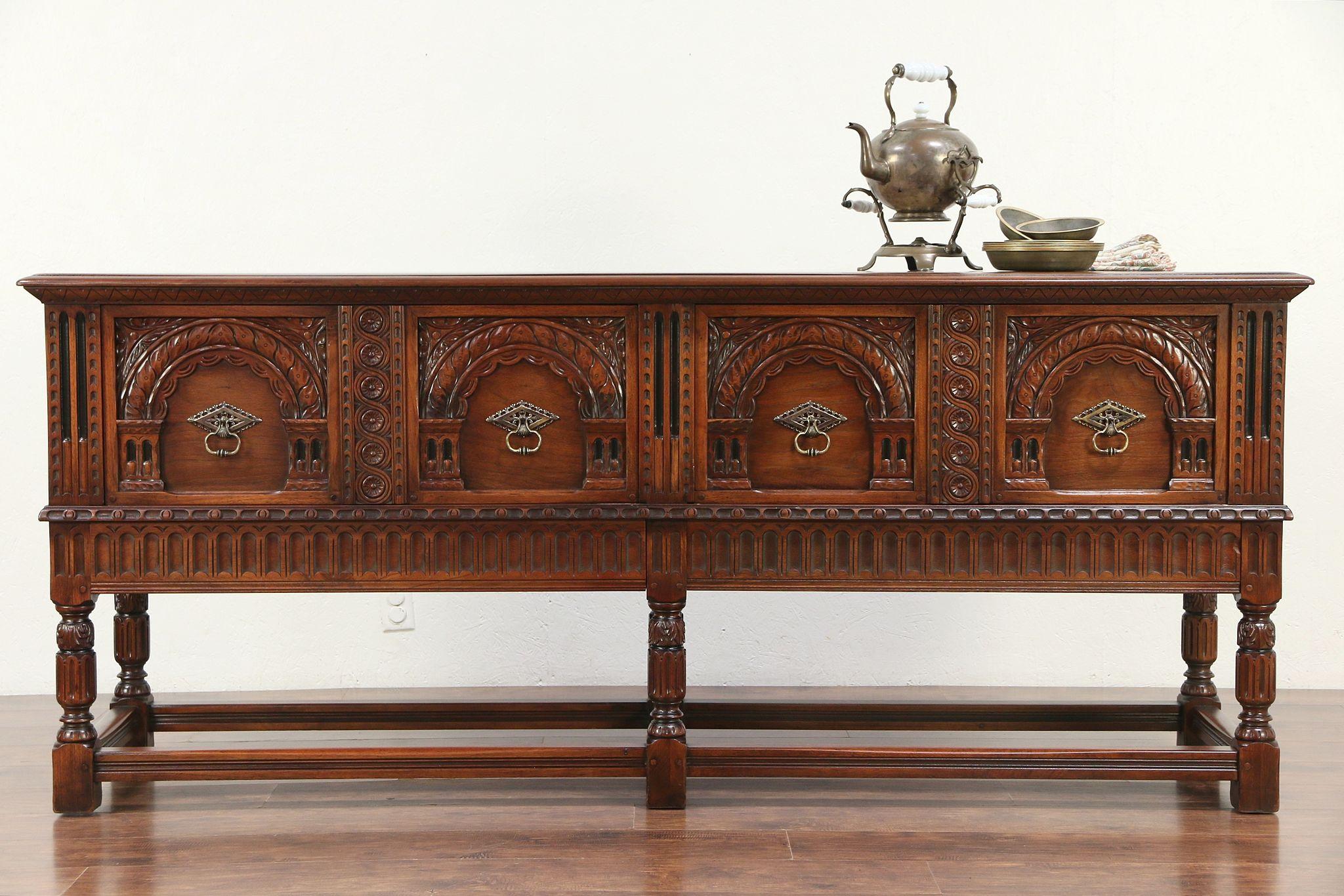 English Renaissance Antique Walnut Sideboard, Buffet Or Server, Kittinger  #29555 ...