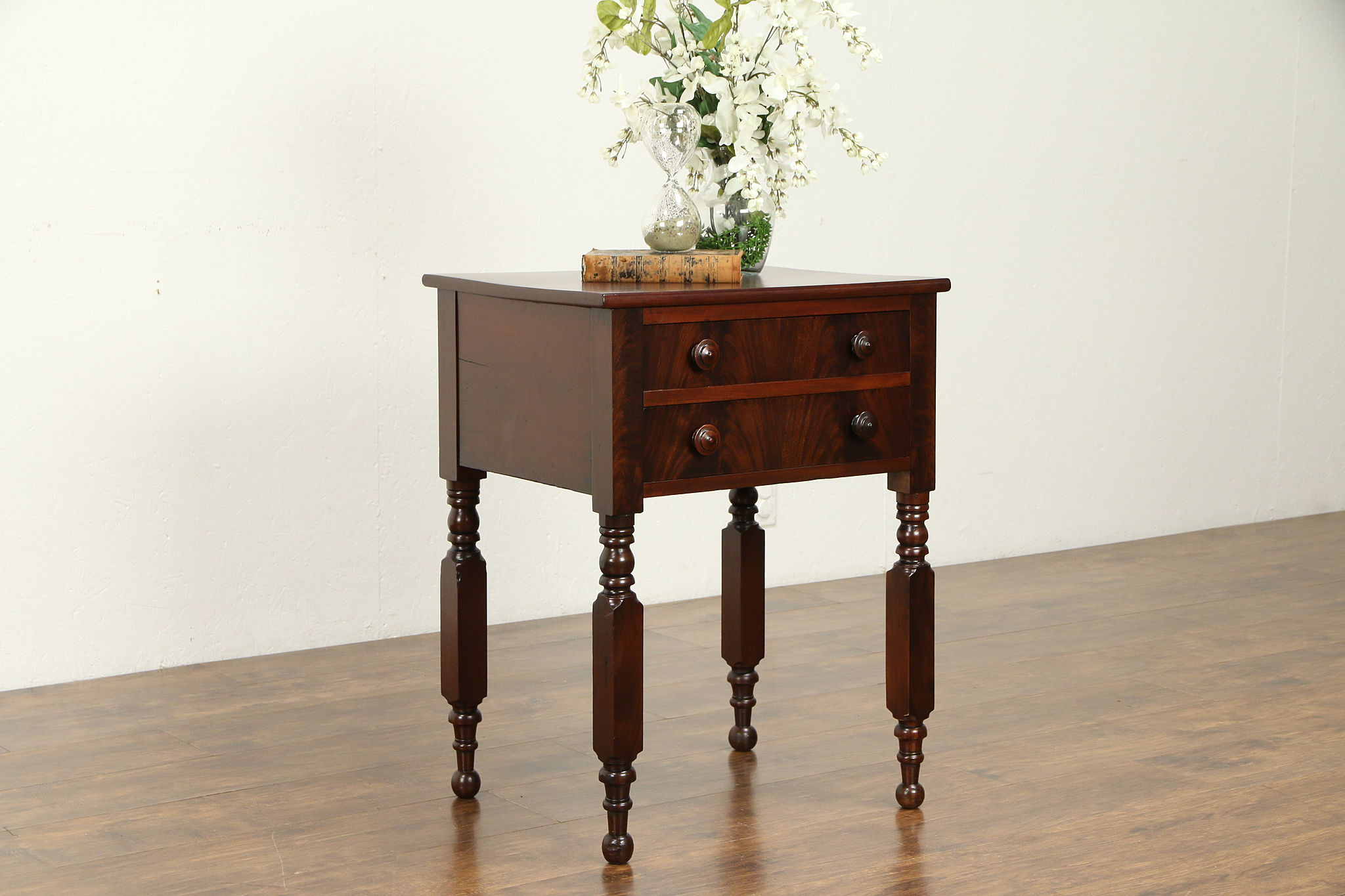Sold Victorian Cherry Mahogany Antique Nightstand Lamp Or End Table 32176 Harp Gallery Antiques Furniture