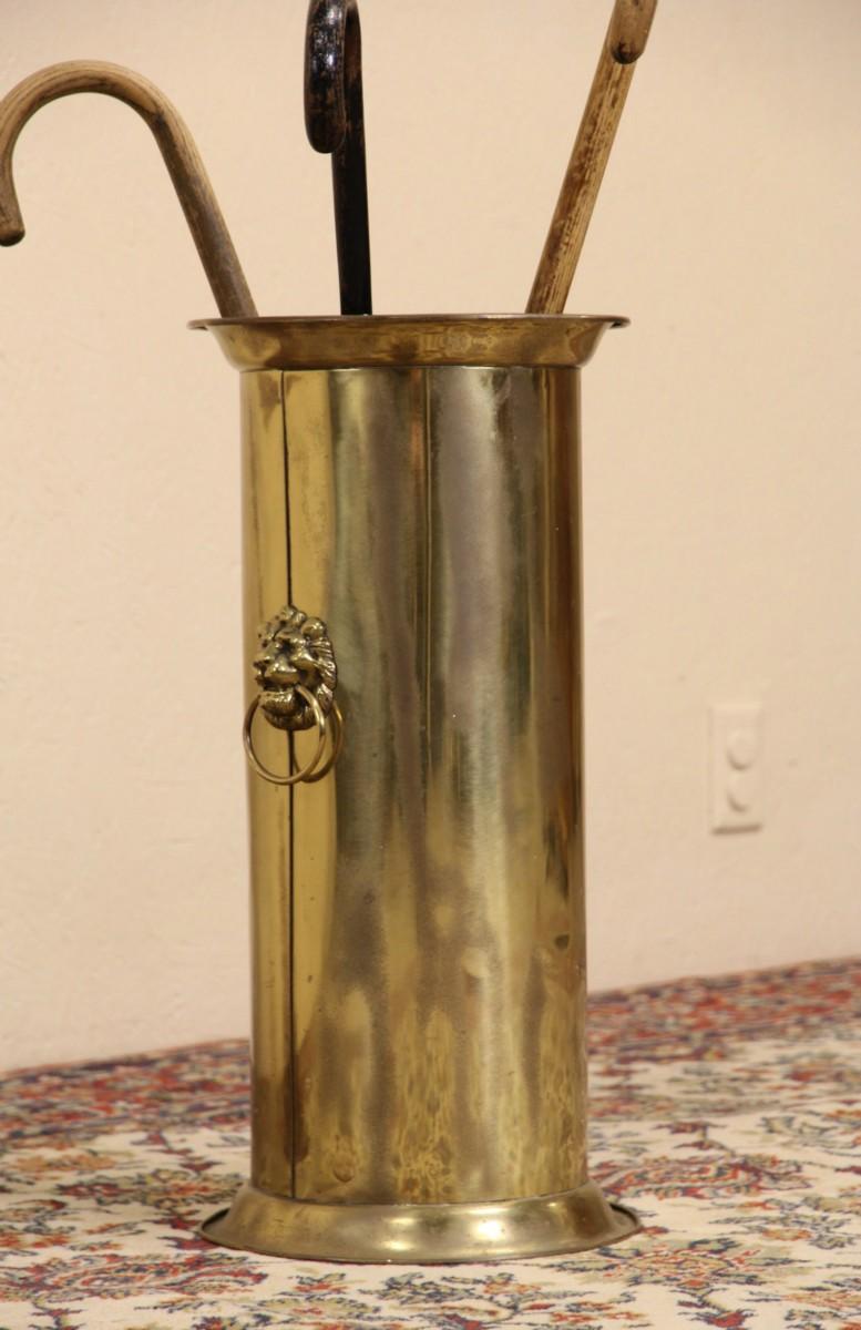 b5057241f135 SOLD - Victorian 1910 Antique Brass Umbrella Stand Cane Holder