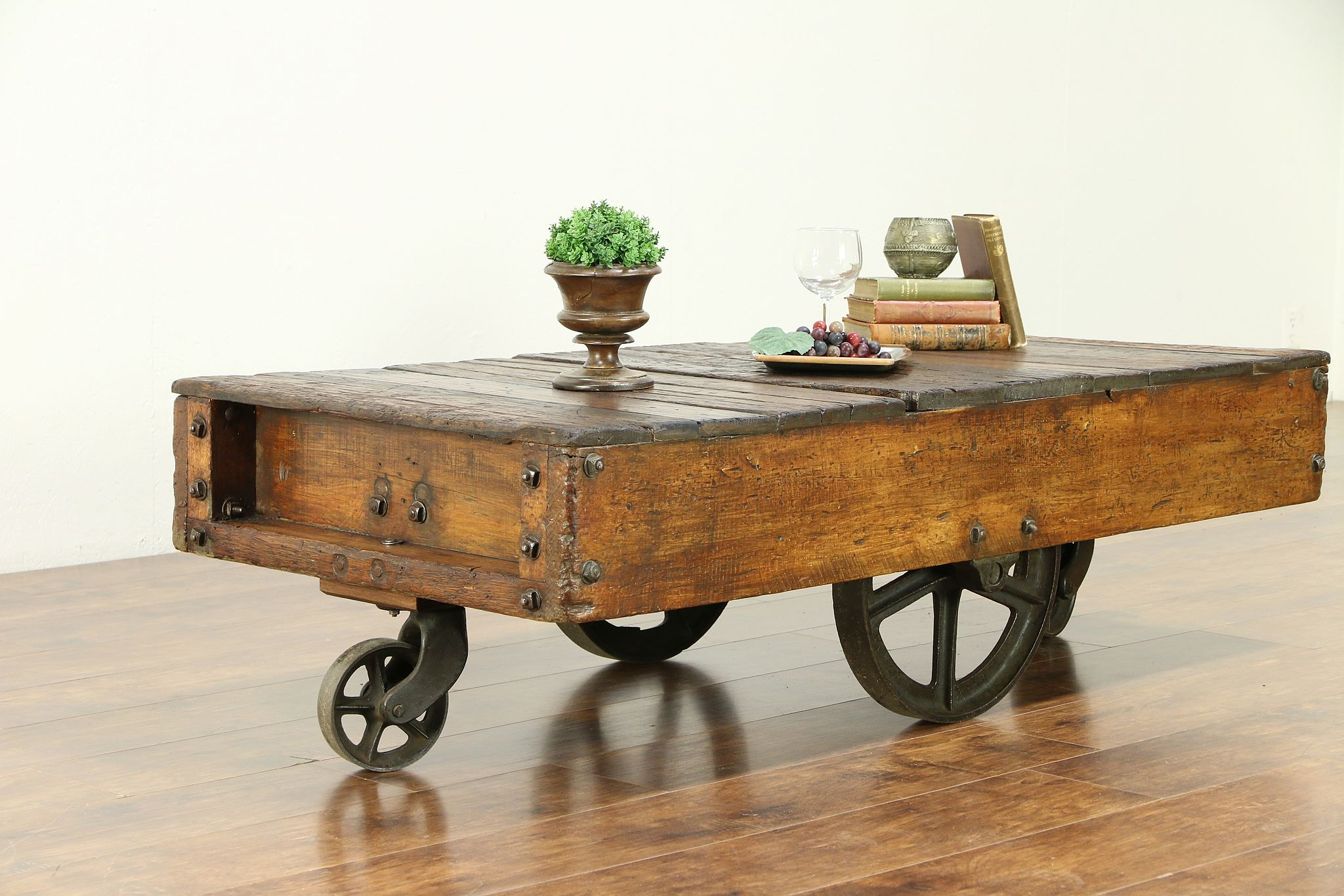 Trolley Coffee Table.Industrial Salvage Antique Cart Or Trolley Iron Wheels Coffee Table 30303