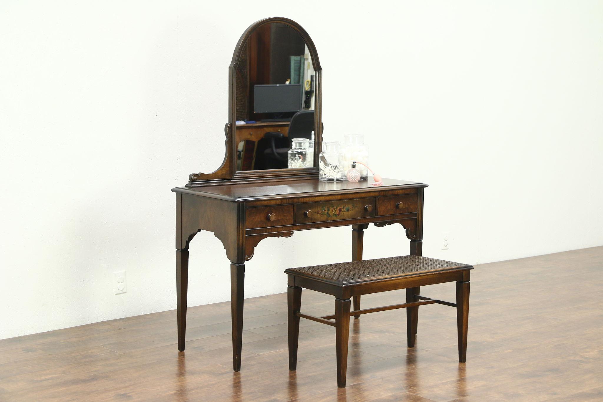 Vanity Or Dressing Table Desk Bench 1930 Vintage Hand Painted Walnut Sligh