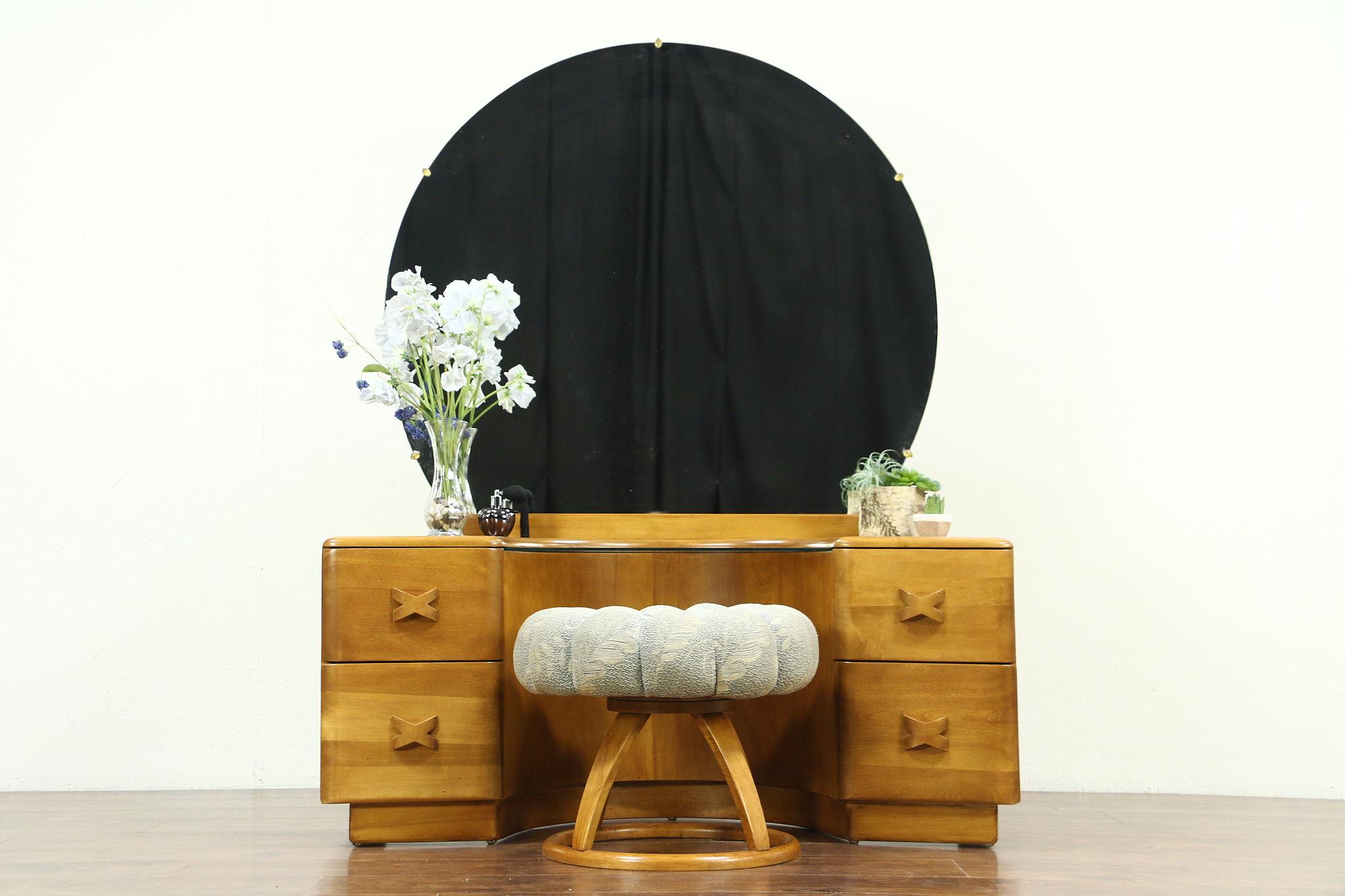 Sold Midcentury Modern Vintage Vanity Or Dressing Table Stool Heywood Wakefield Harp Gallery Antiques Furniture