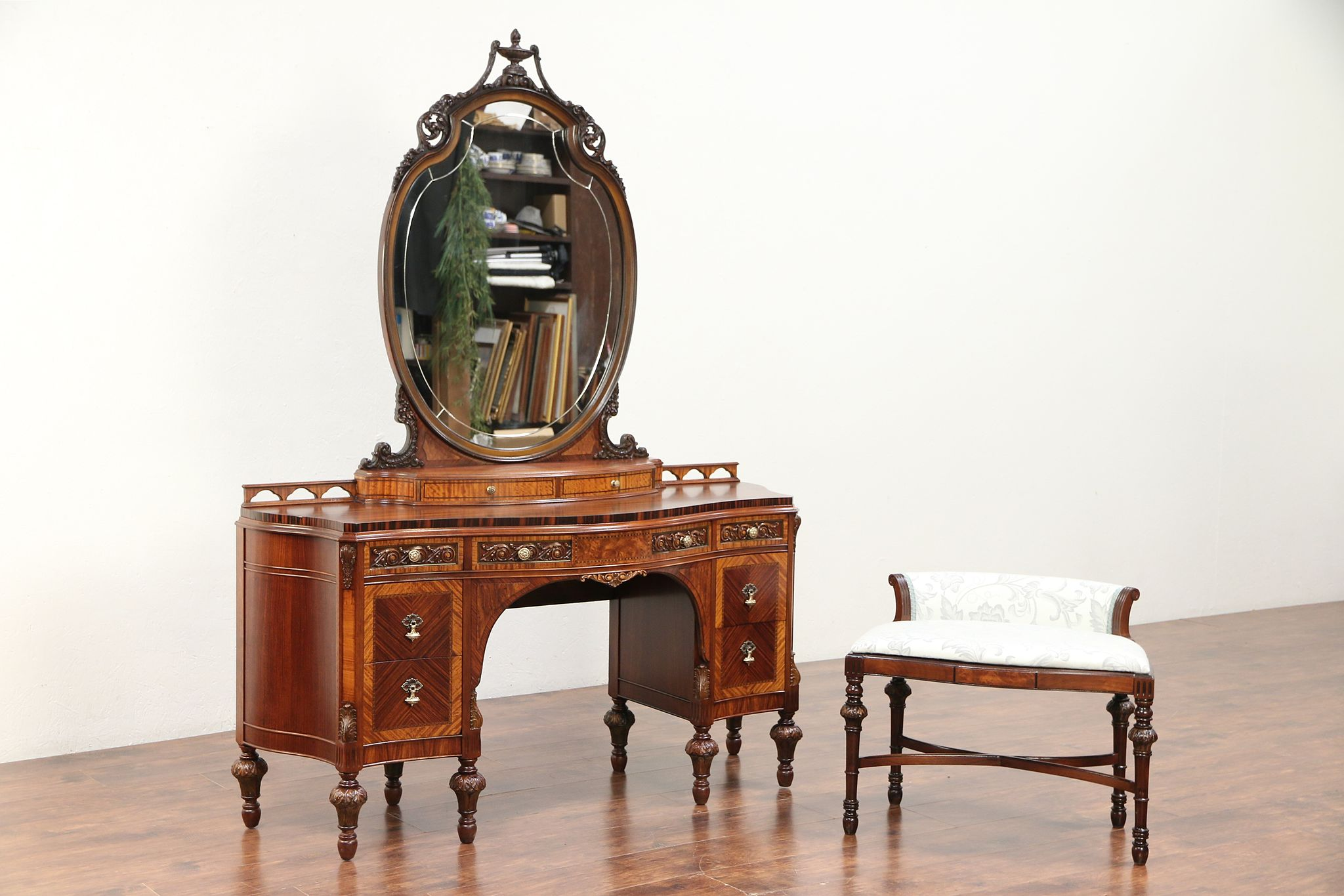 Pleasing Curved Antique Tall Vanity Mirror Chair Rosewood Banding Carving 29714 Gamerscity Chair Design For Home Gamerscityorg
