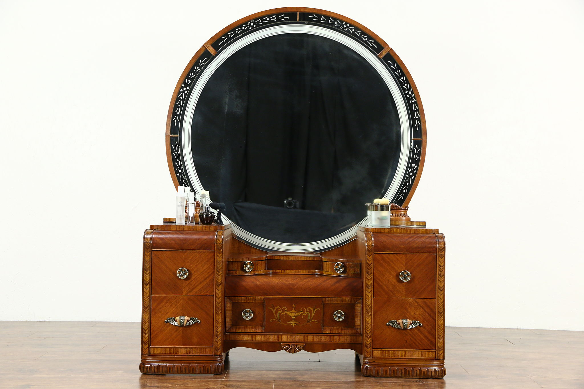 Art Deco Waterfall 1935 Vintage Dressing Table Vanity Etched Round Mirror