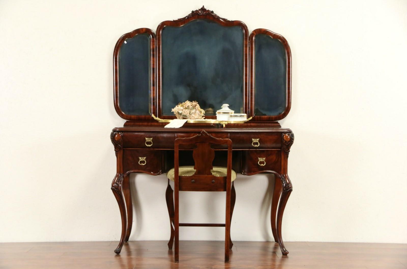 Vanity, Dressing Table Or Desk W/ Mirrors U0026 Chair, 1920u0027s Mahogany By Sligh