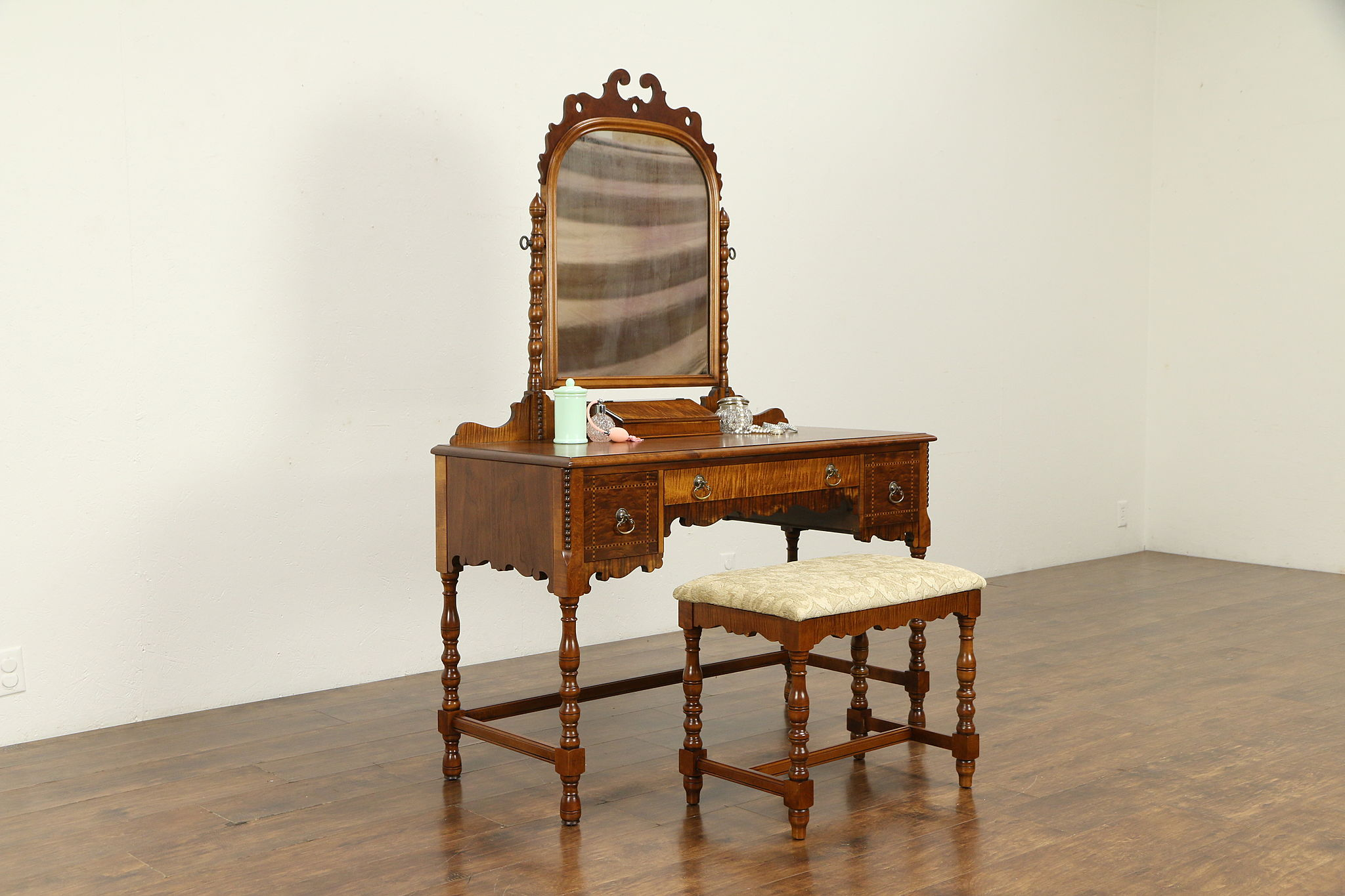Sold English Tudor Walnut Curly Maple Antique Vanity Dressing Table Bench 32523 Harp Gallery Antiques Furniture