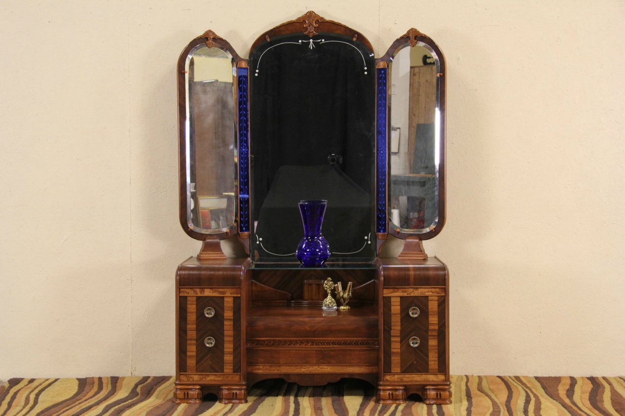 Etonnant Art Deco Waterfall 1930u0027s Dressing Table Vanity, Blue Mirrors