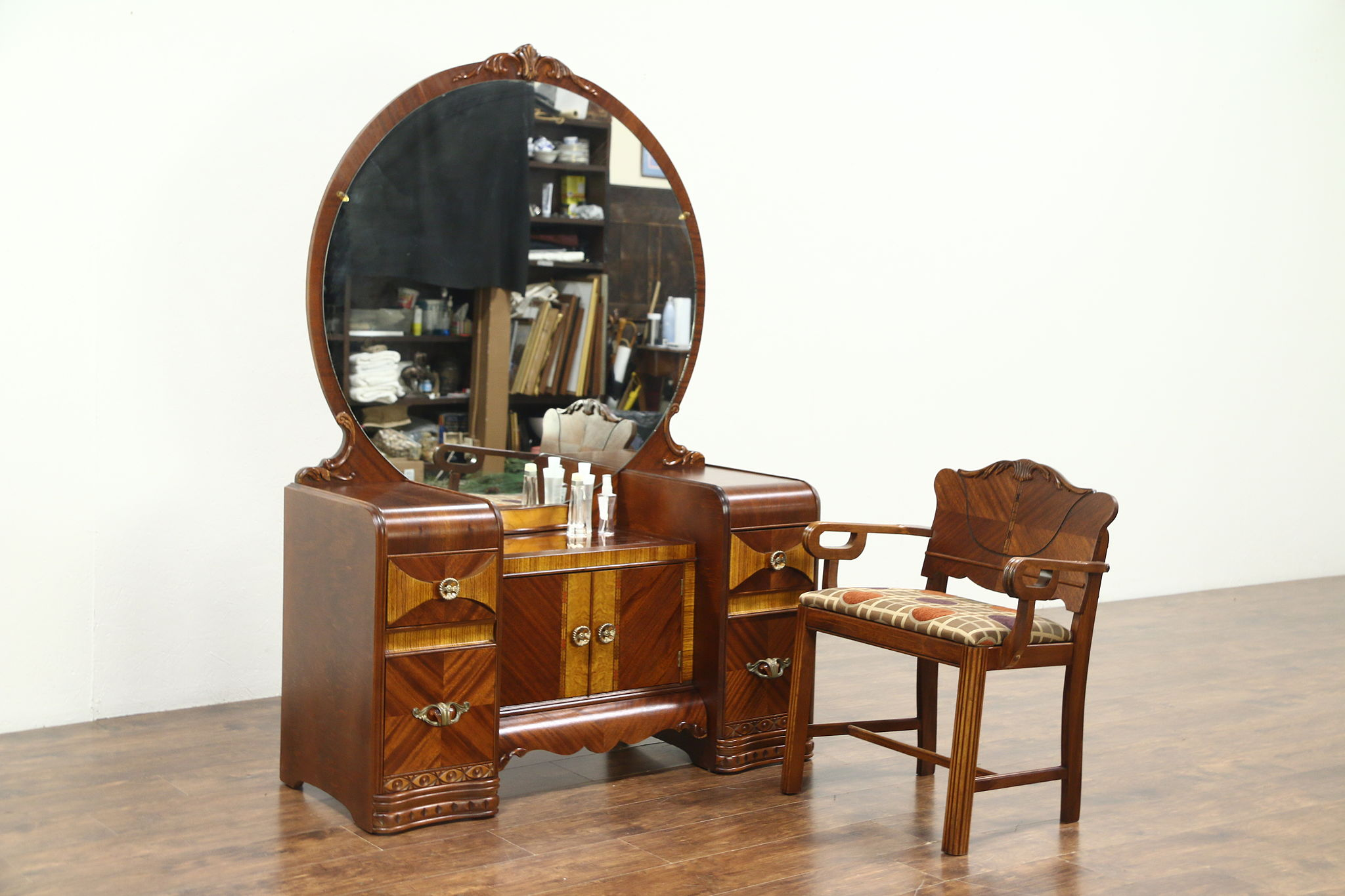 Art Deco Waterfall Vanity Or Dressing Table, Mirror U0026 Chair, New Upholstery