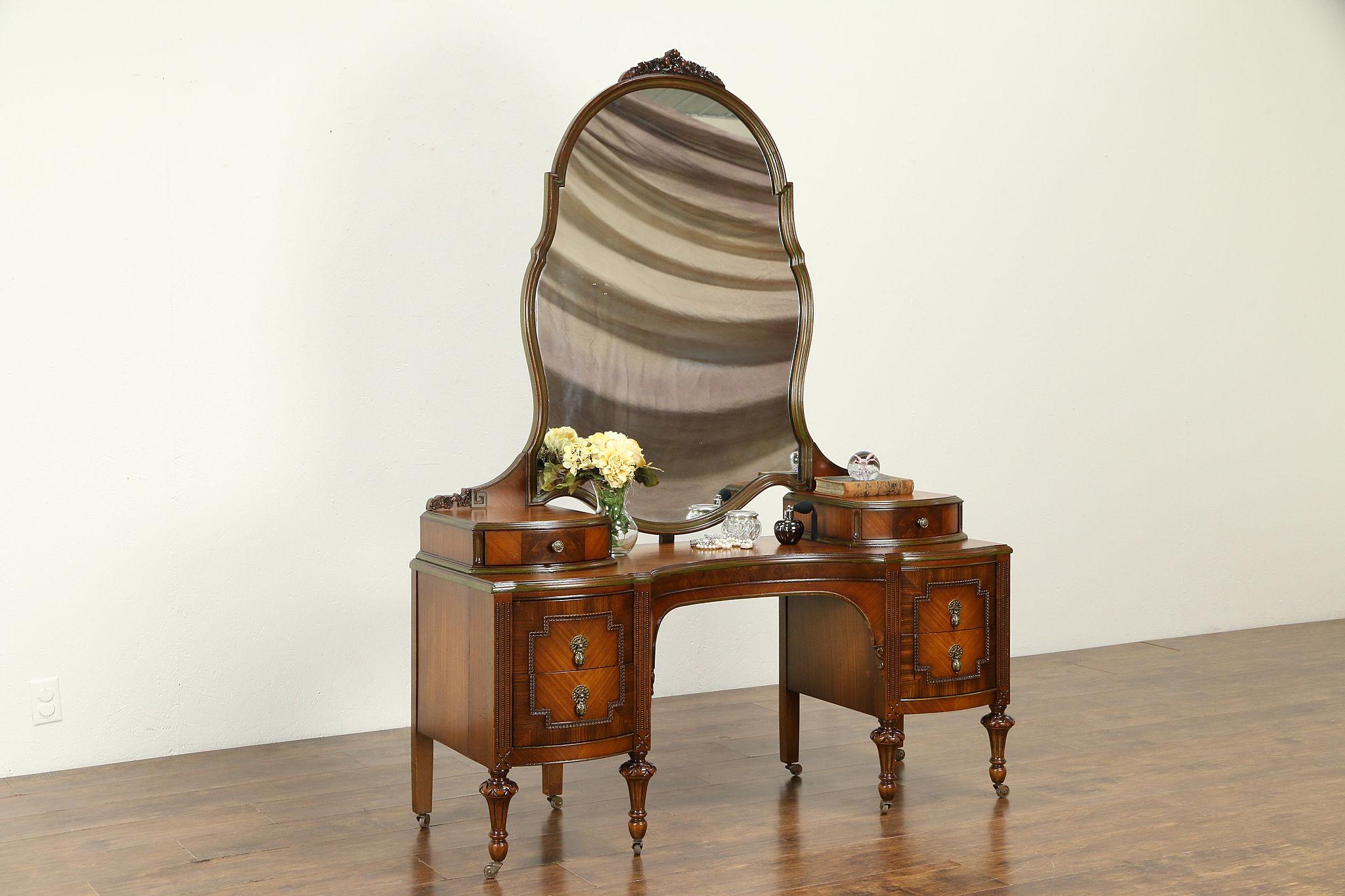 Sold Satinwood Mahogany Antique Vanity Mirror Signed Blackhawk 33087 Harp Gallery Antiques Furniture