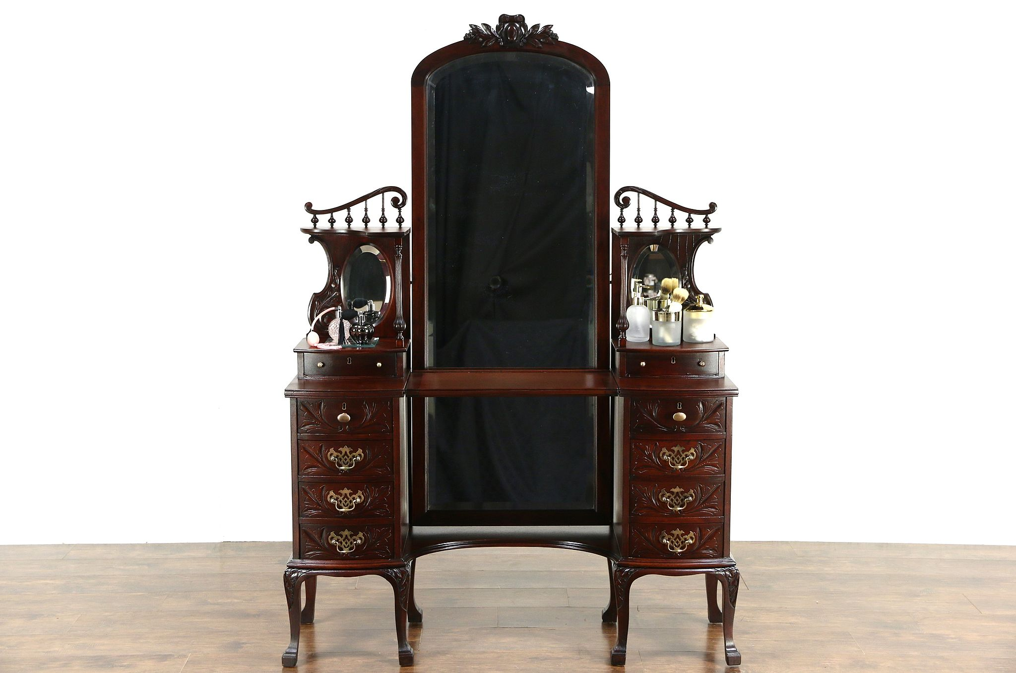 Victorian 1895 Antique Carved Mahogany Dressing Table Vanity Mirror