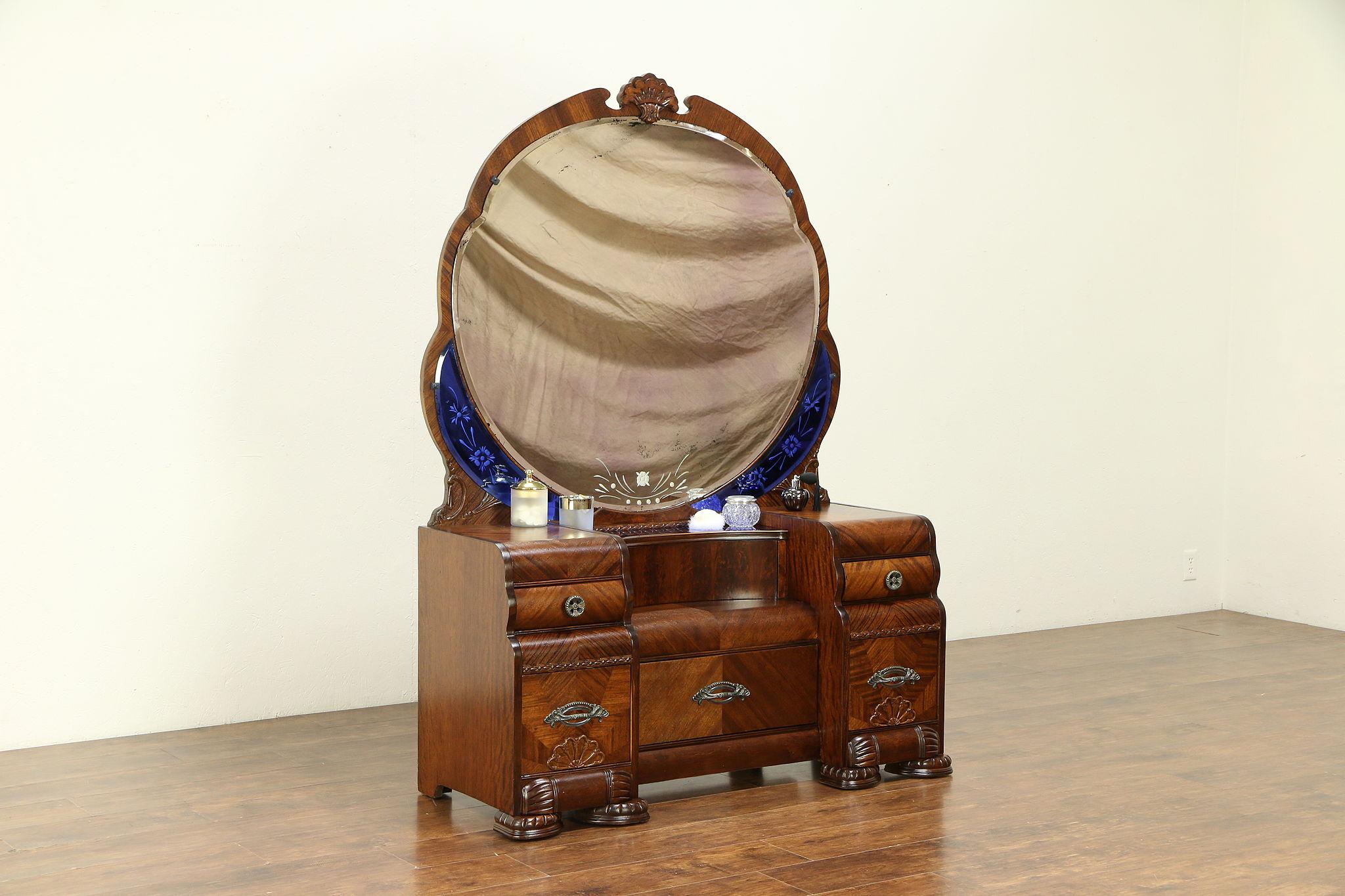 Art Deco Waterfall Vintage Vanity Blue Beveled Mirrors Bakelite Hardware 30710 Photo