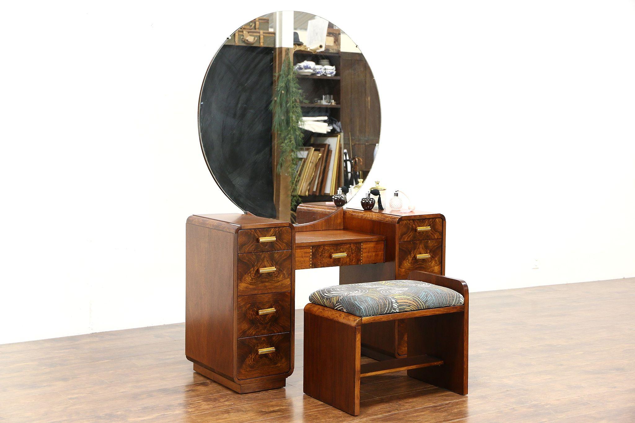 Art Deco 1940 Vintage Dressing Table Or Vanity, Mirror U0026 Bench