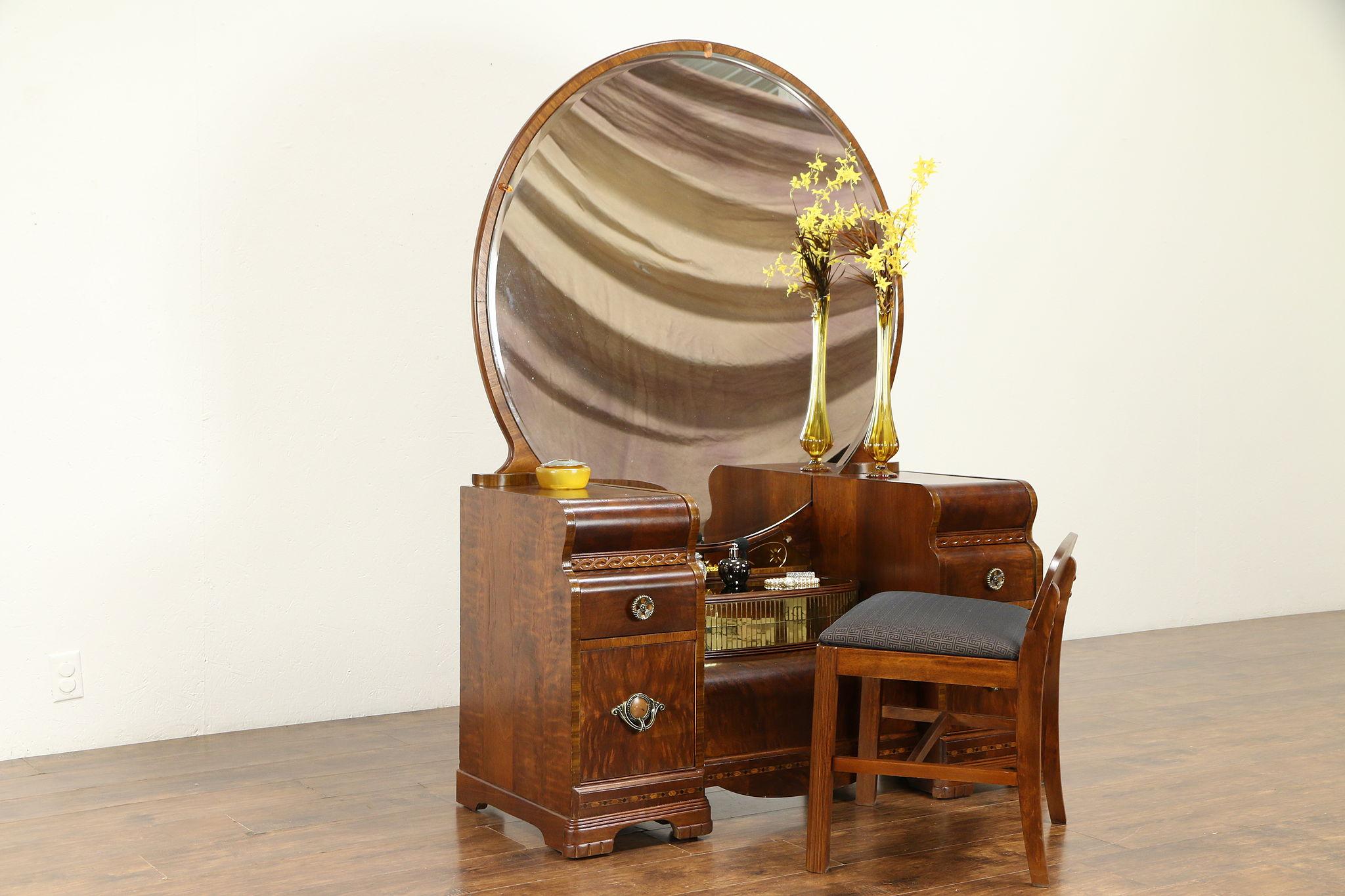 Sold Art Deco Waterfall Vintage Vanity Beveled Mirror Bench Mosaic Mirror 31132 Harp Gallery Antiques Furniture