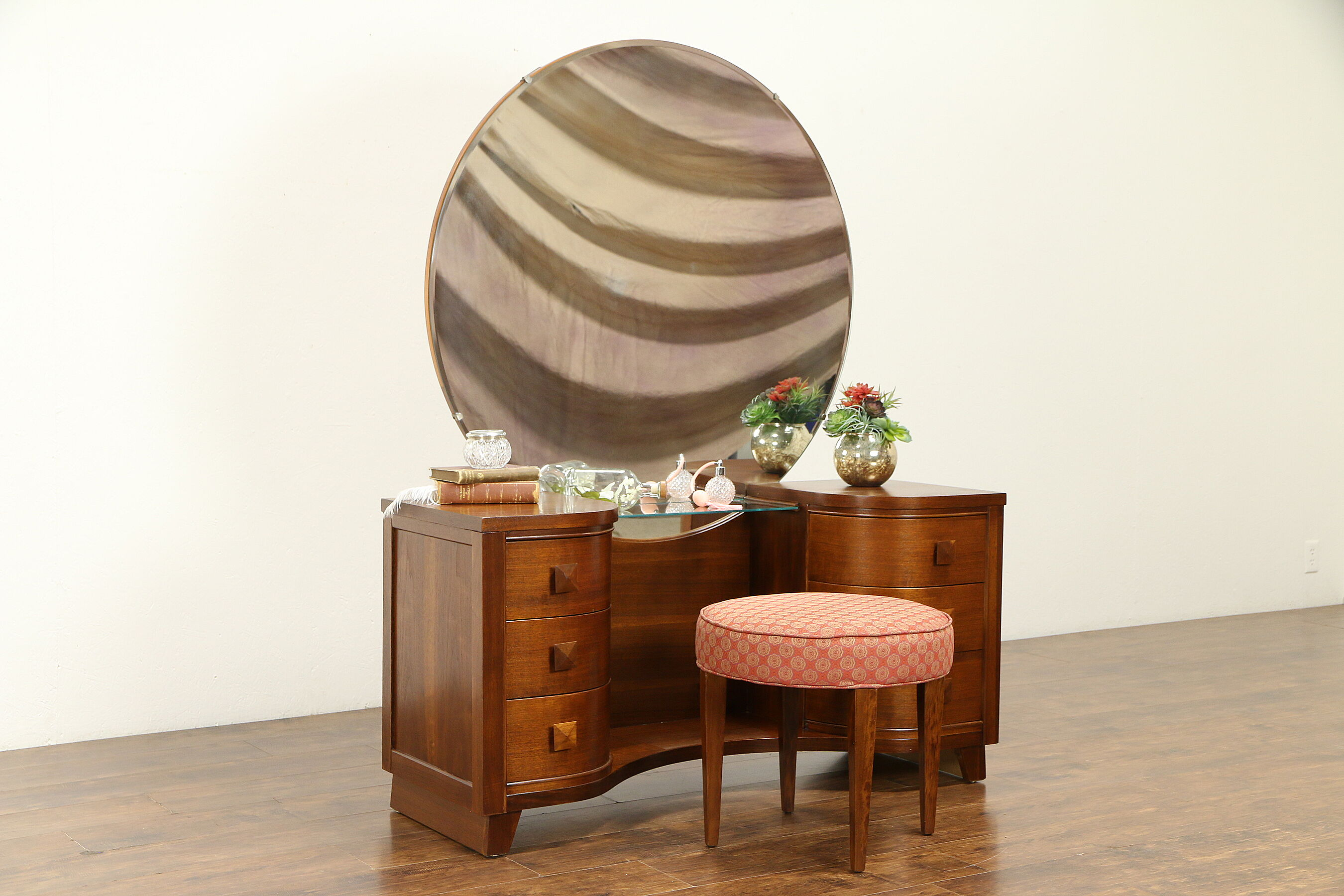 Sold Midcentury Modern 1950 S Vintage Walnut Vanity Or Dressing Table Stool 30931 Harp Gallery Antiques Furniture