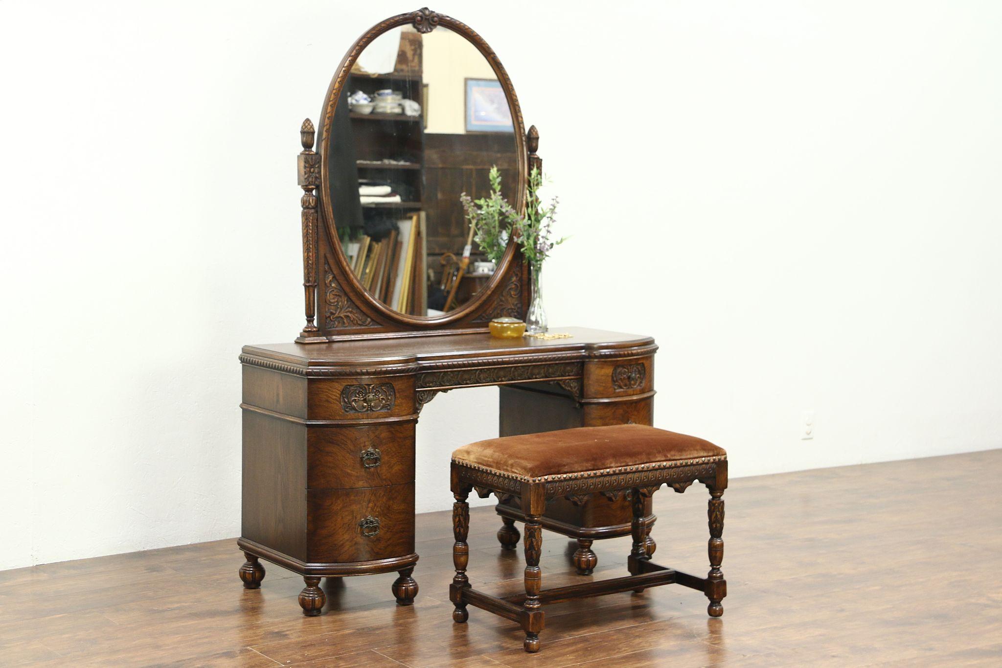 Super Vanity Or Dressing Table Vintage Mirror Bench Signed Romweber 28802 Ibusinesslaw Wood Chair Design Ideas Ibusinesslaworg