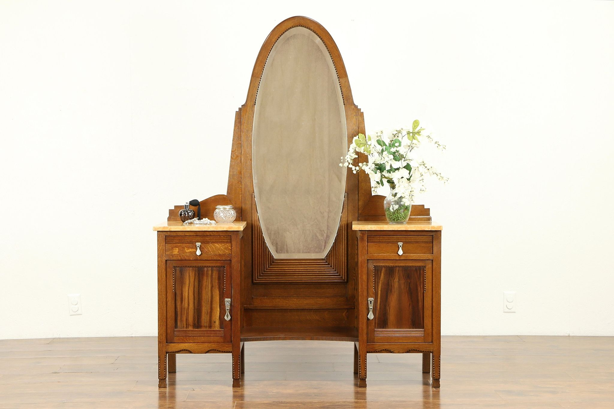 Beau Oak French Art Deco Antique Vanity Or Dressing Table, Beveled Mirror #31174  Photo