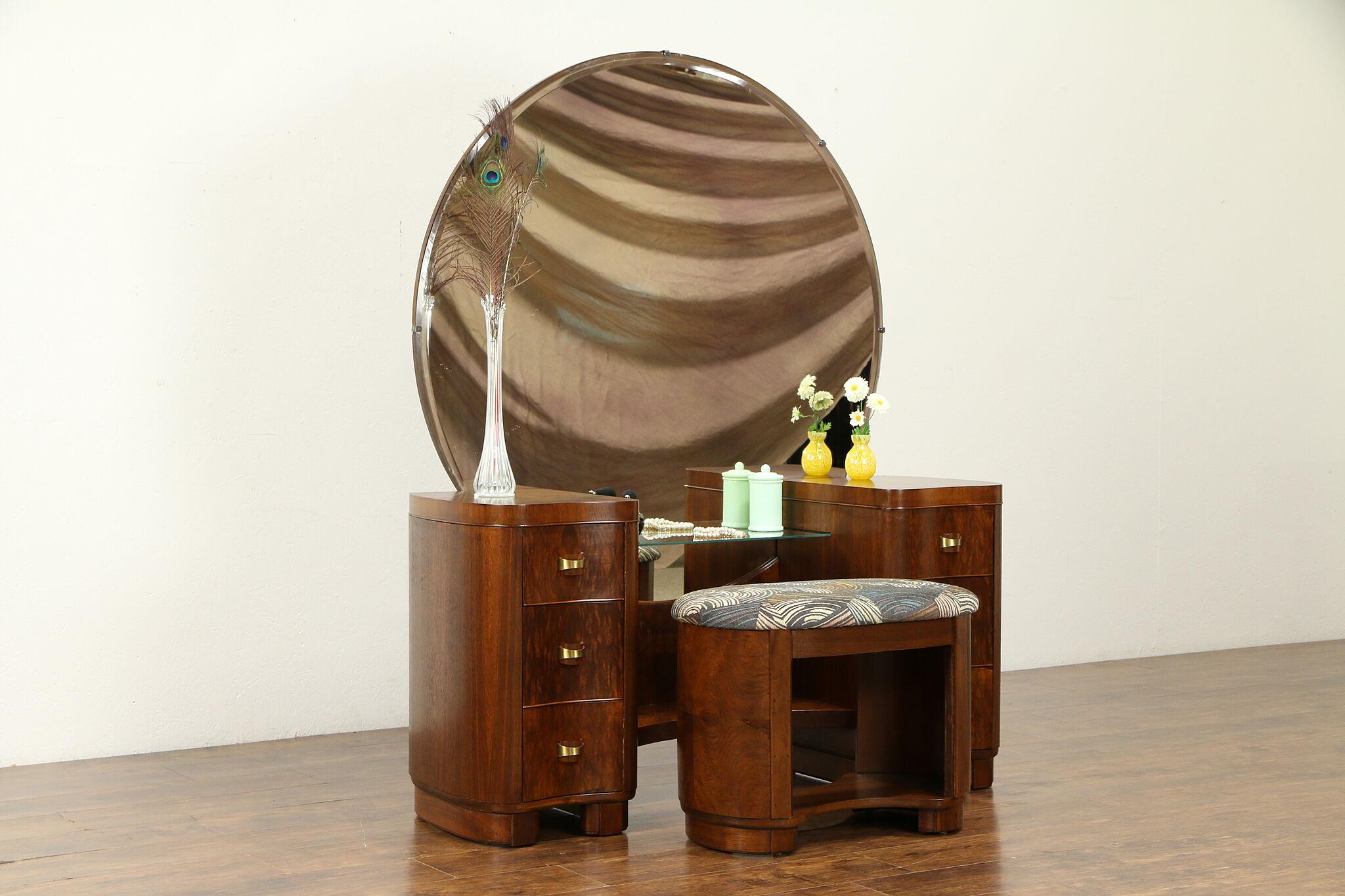 Sold Midcentury Modern Vintage Walnut Vanity Mirror Bench New Upholstery 31507 Harp Gallery Antiques Furniture