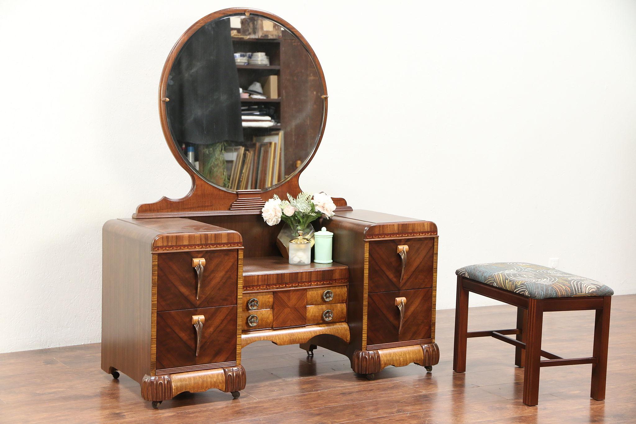 Art Deco Waterfall Vintage Vanity Or Dressing Table Mirror Bench 29429