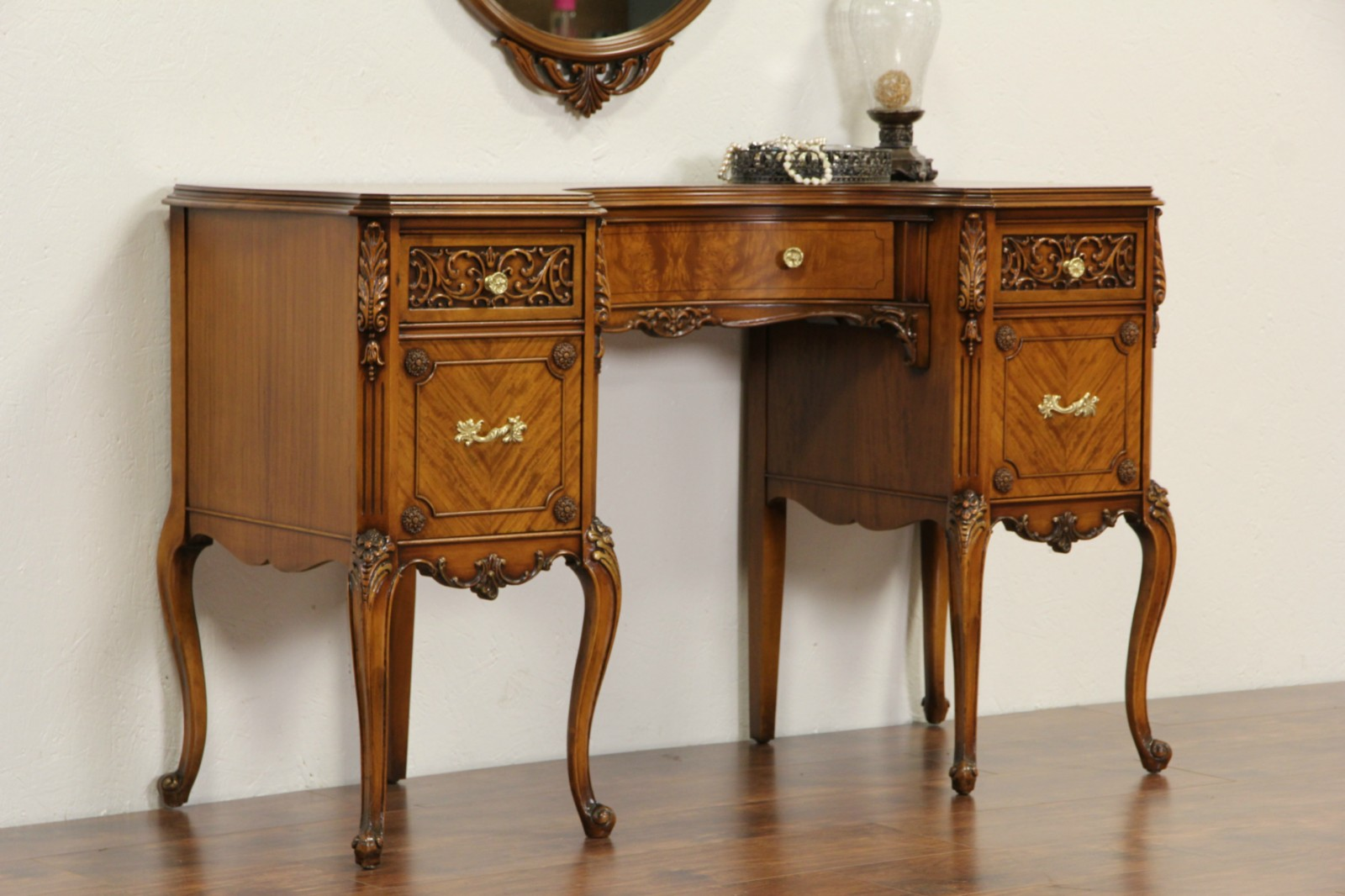 French Style 1940 S Satinwood Dressing Table Desk Or Vanity