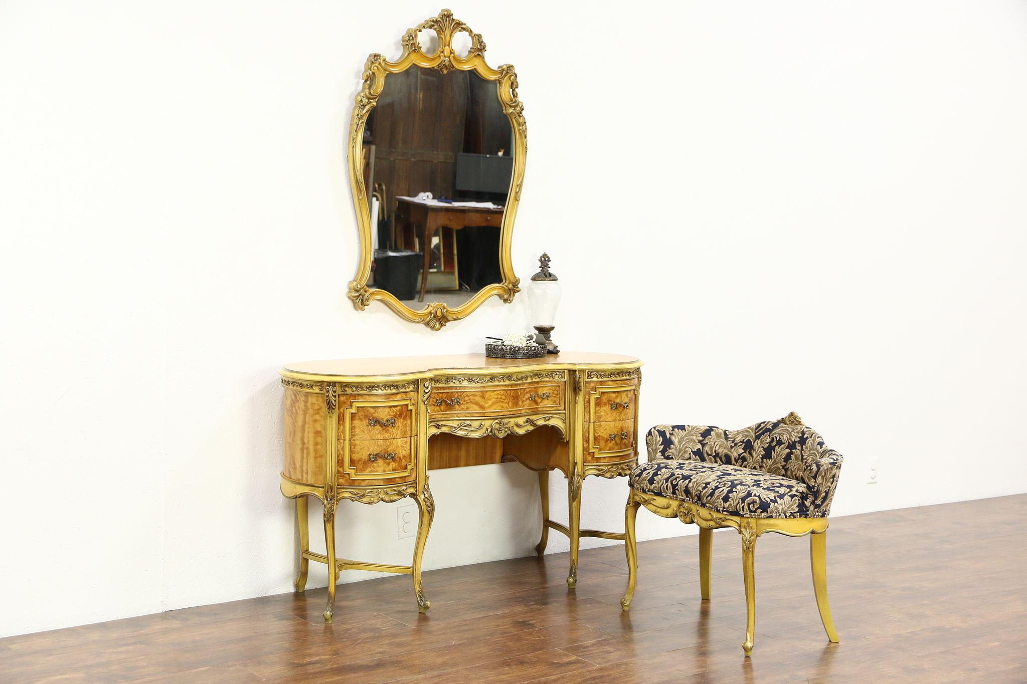 Satinwood U0026 Hand Painted 1940 Vintage Dressing Table Or Vanity, Mirror U0026  Bench