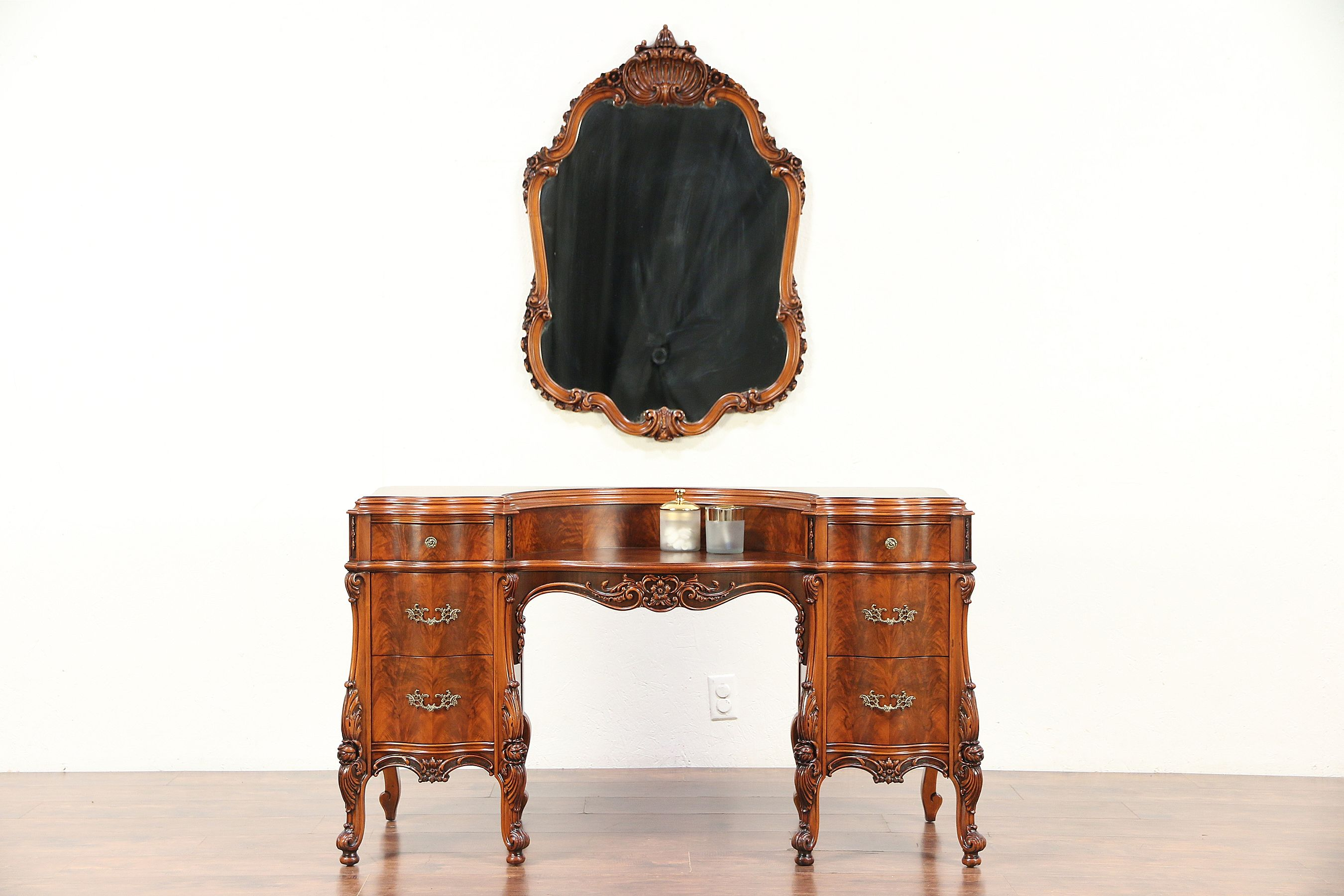 French Style Antique Carved Vanity Or Dressing Table U0026 Wall Mirror #29580  Photo