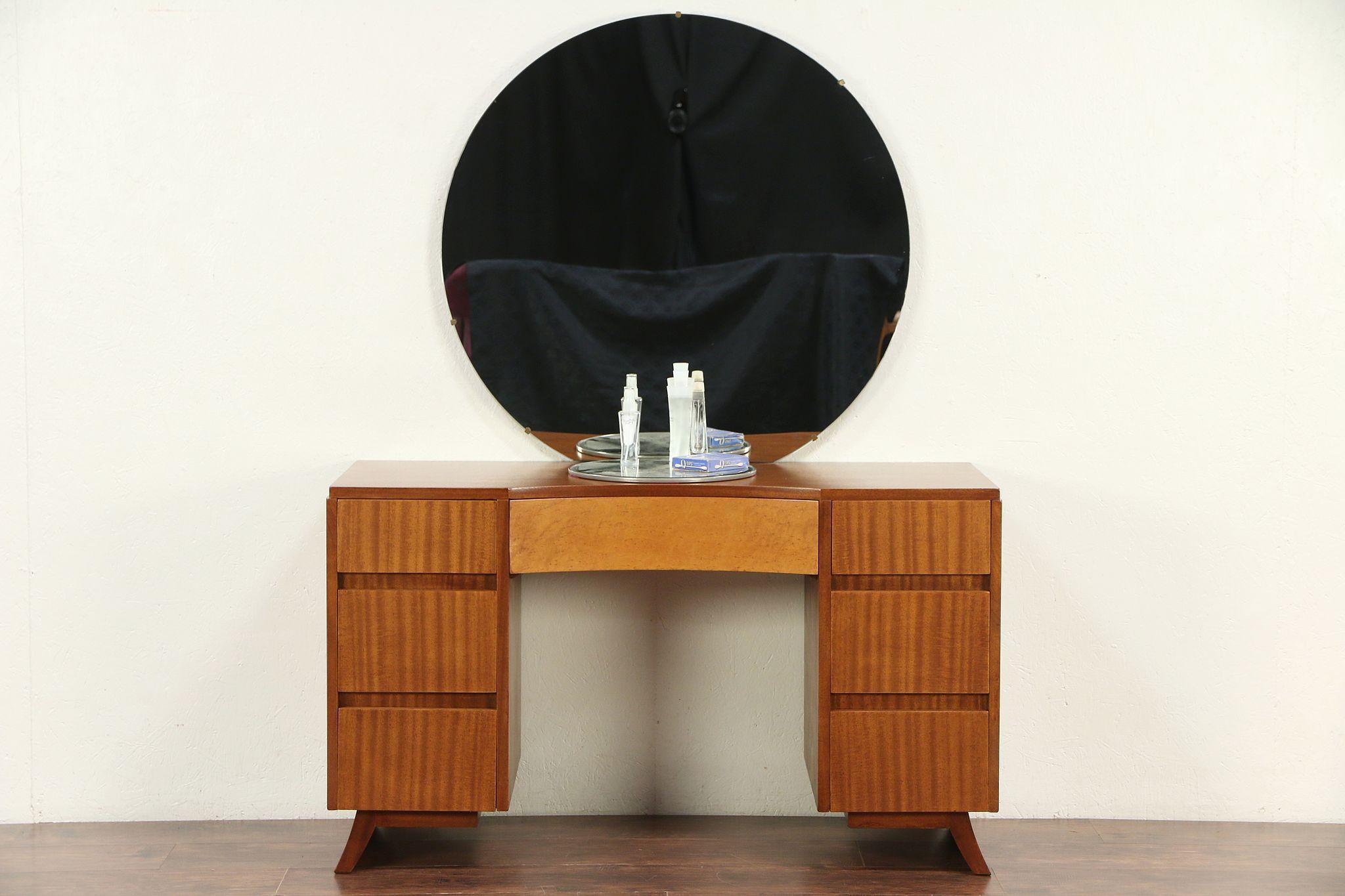 Sold Midcentury Modern Desk Or Vanity Mirror 1960 Vintage Curly Maple Rway 29523 Harp Gallery Antiques Furniture