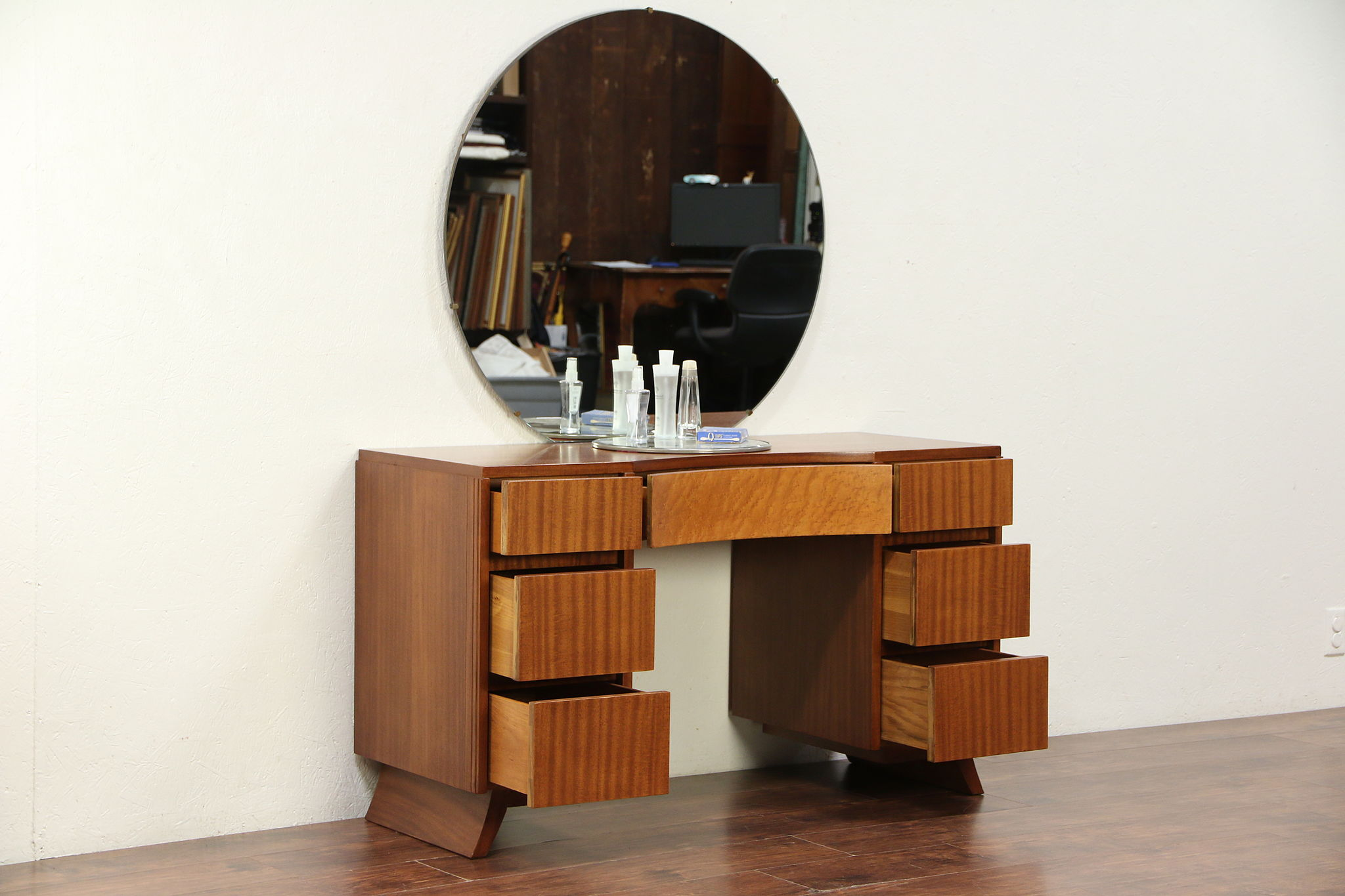 Sold Midcentury Modern Desk Or Vanity Mirror 1960 Vintage Curly Maple Rway 29523 Harp Gallery Antiques Furniture